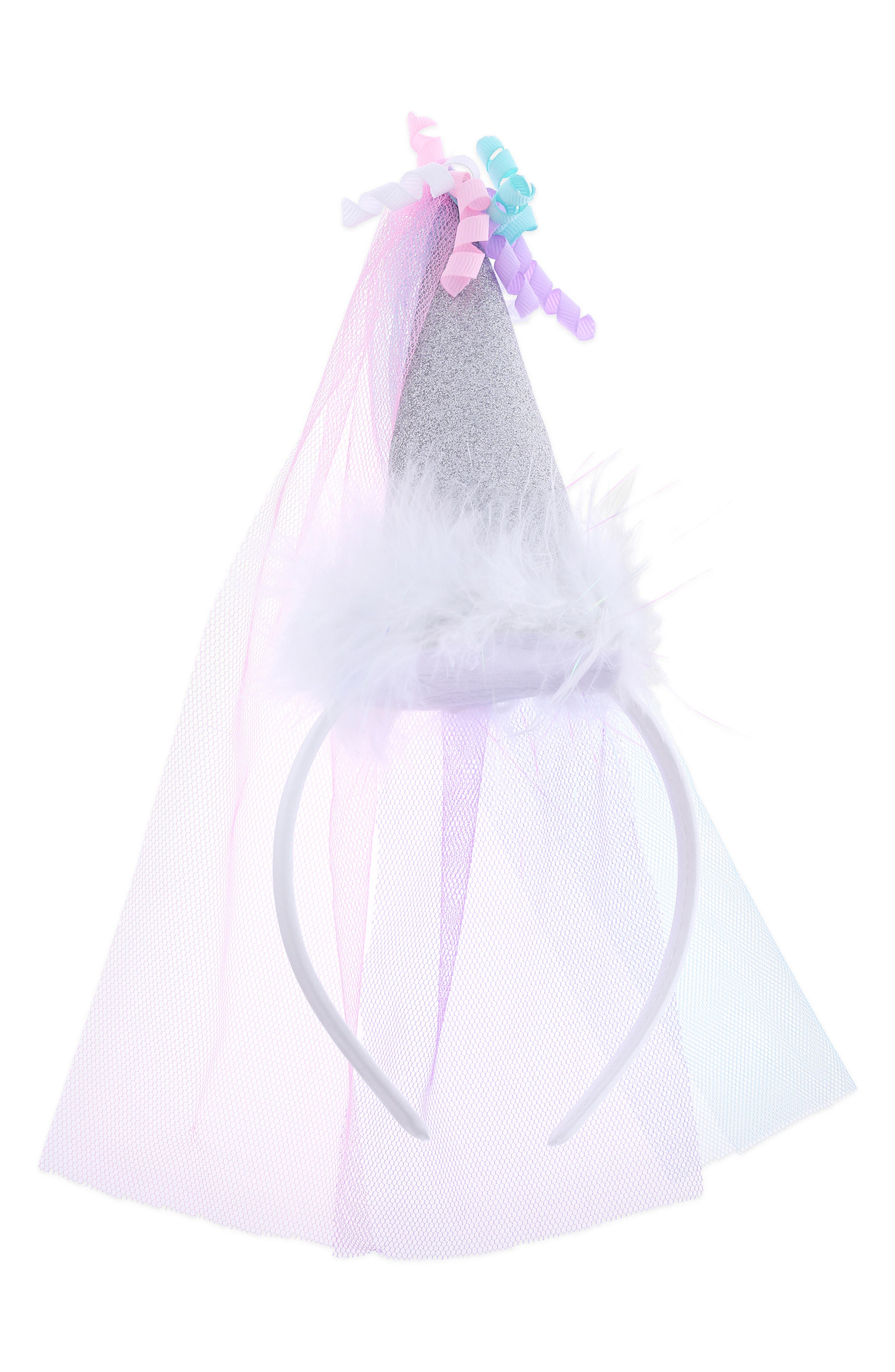Glitter Birthday Hat & Veil,                         Main,                         color, PALE MULTI