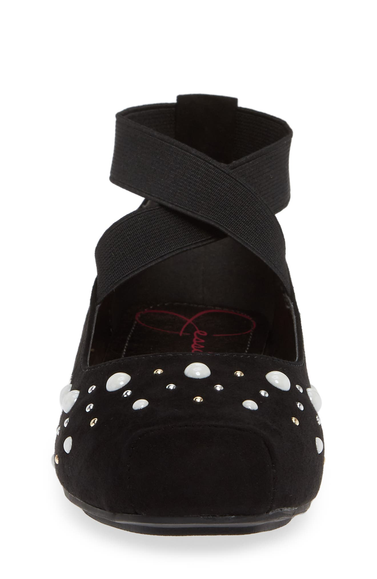 Cross Strap Ballet Flat,                             Alternate thumbnail 4, color,                             BLACK MICRO SUEDE W/ PEARLS