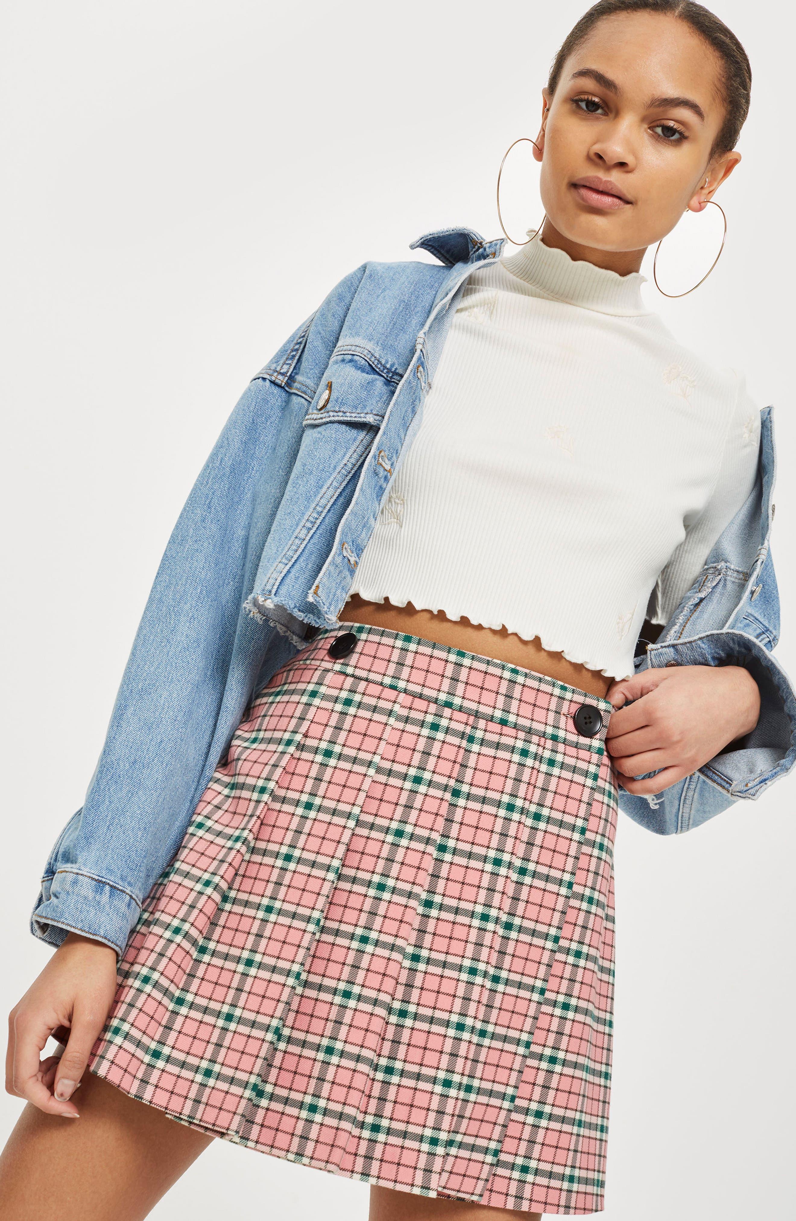 Summer Check Kilt Miniskirt,                             Alternate thumbnail 3, color,                             650