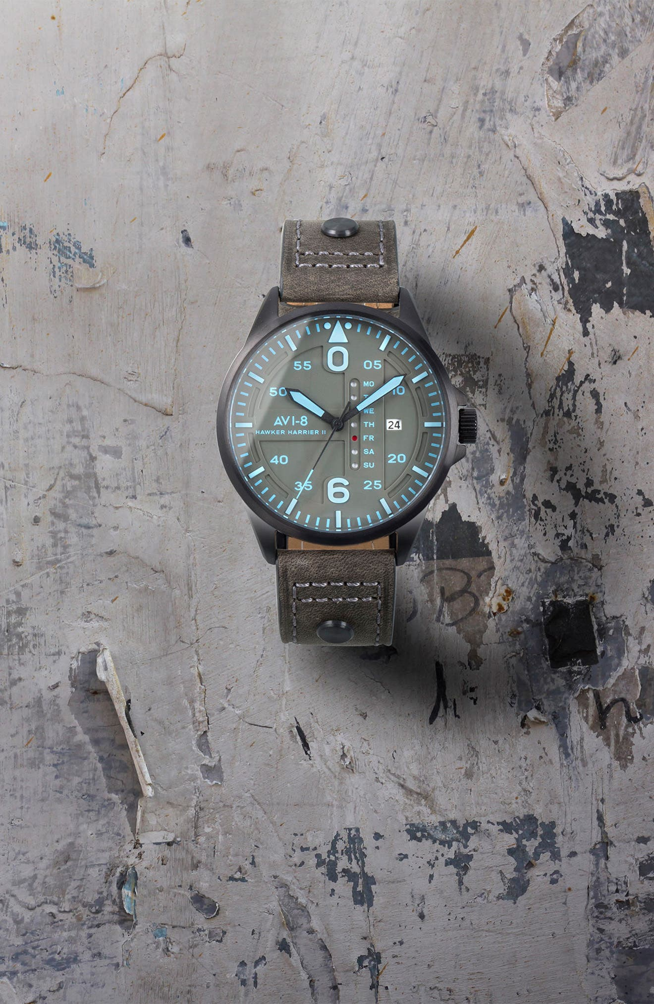 Hawker Harrier II Leather Strap Watch, 45mm,                             Alternate thumbnail 6, color,