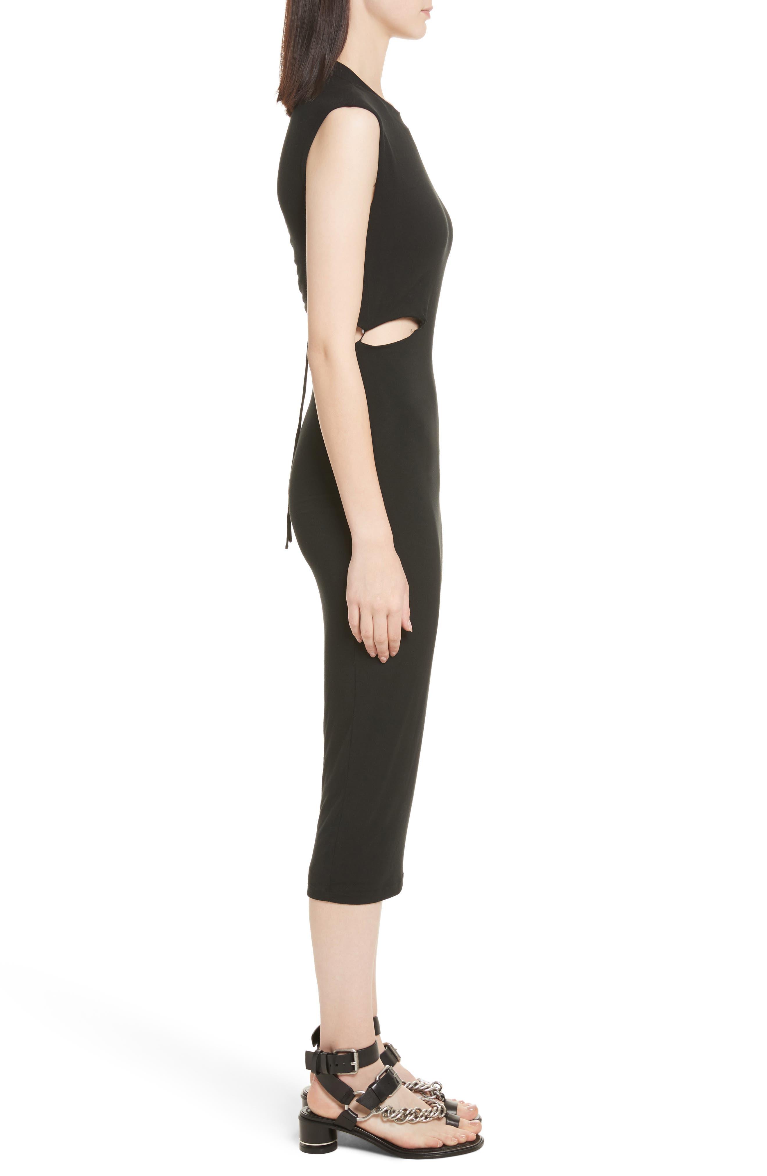 Cutout Stretch Jersey Dress,                             Alternate thumbnail 3, color,                             001