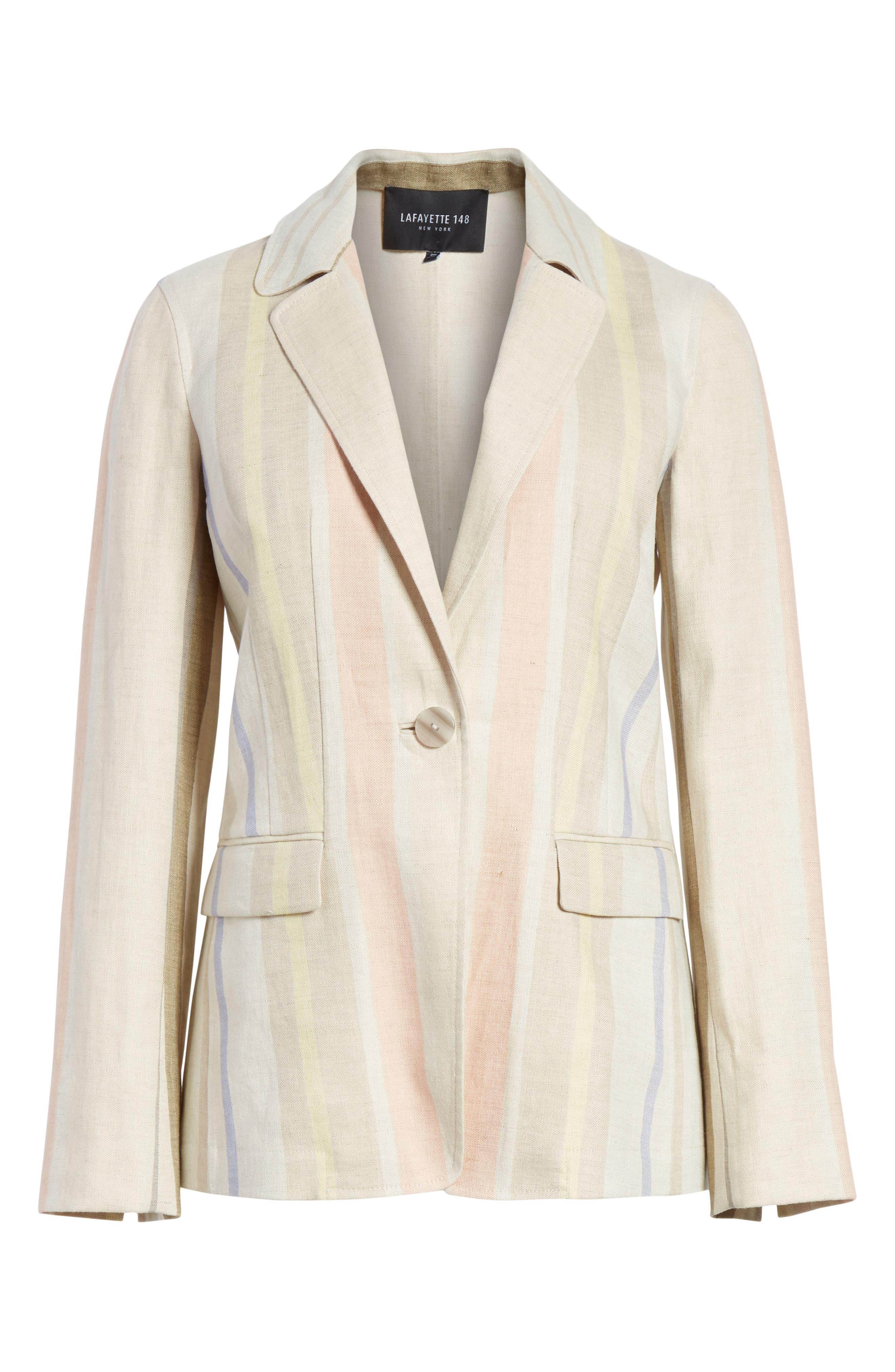 Marie Stripe Linen Jacket,                             Alternate thumbnail 5, color,