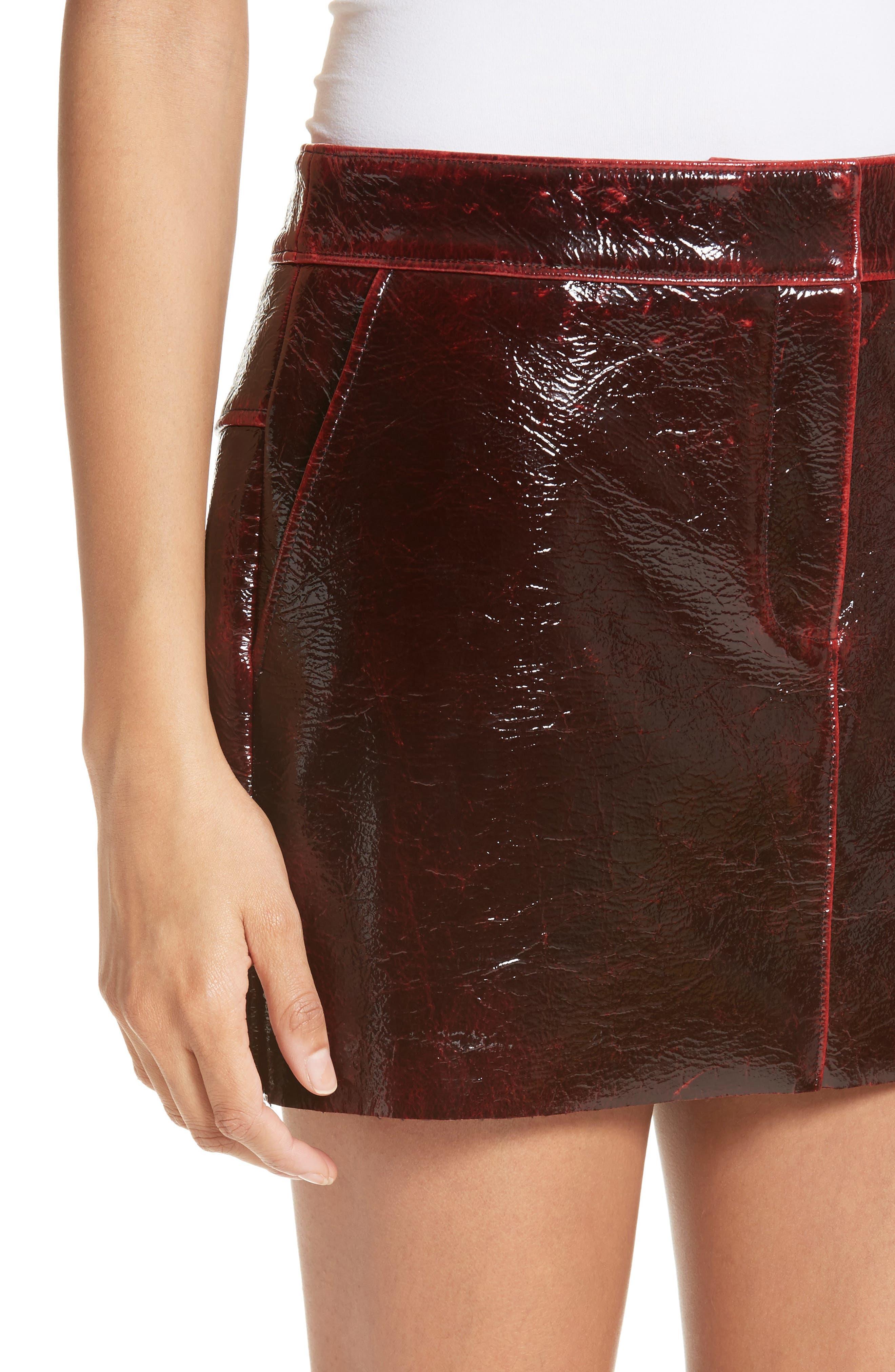 Patent Coated Wool Blend Miniskirt,                             Alternate thumbnail 4, color,                             651