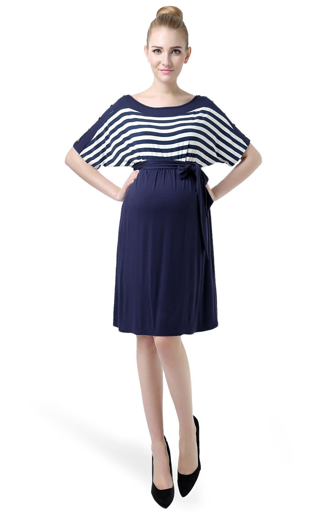'Willow' Stripe Maternity Dress,                             Alternate thumbnail 4, color,                             419