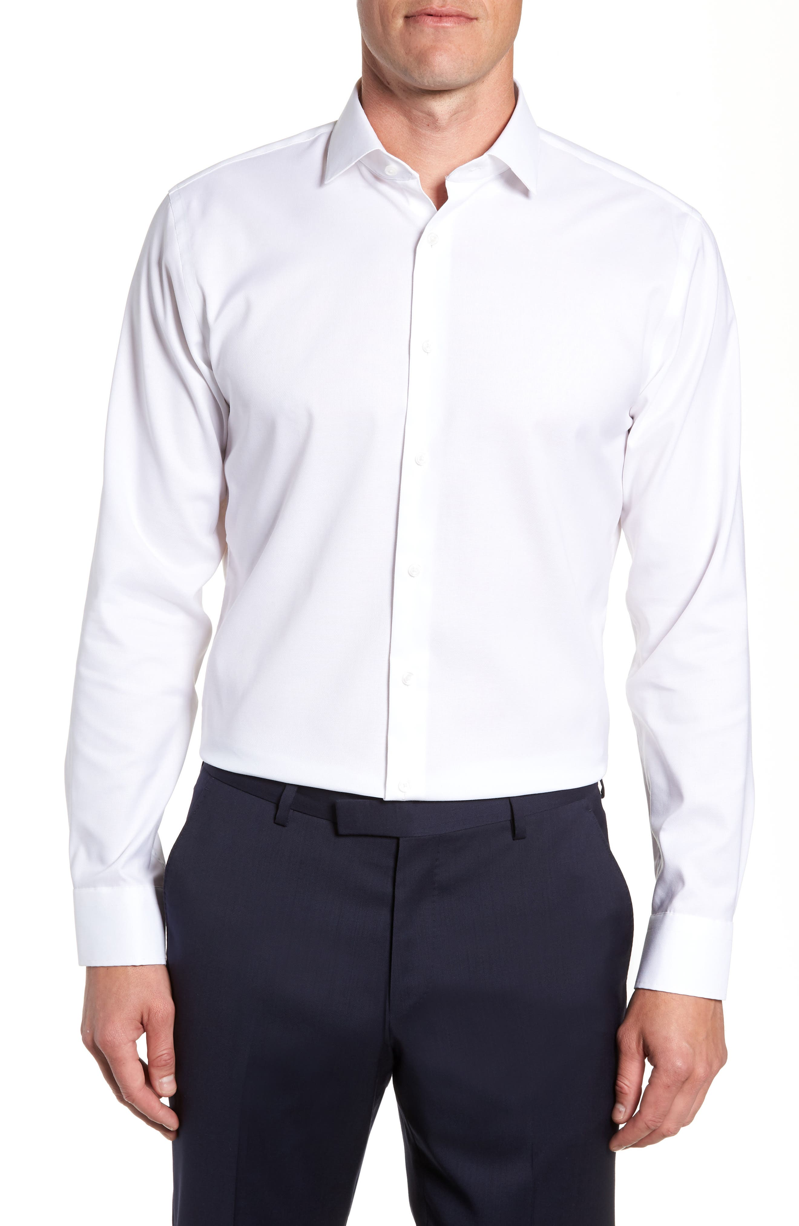 Trim Fit Stretch No-Iron Solid Dress Shirt, Main, color, WHITE