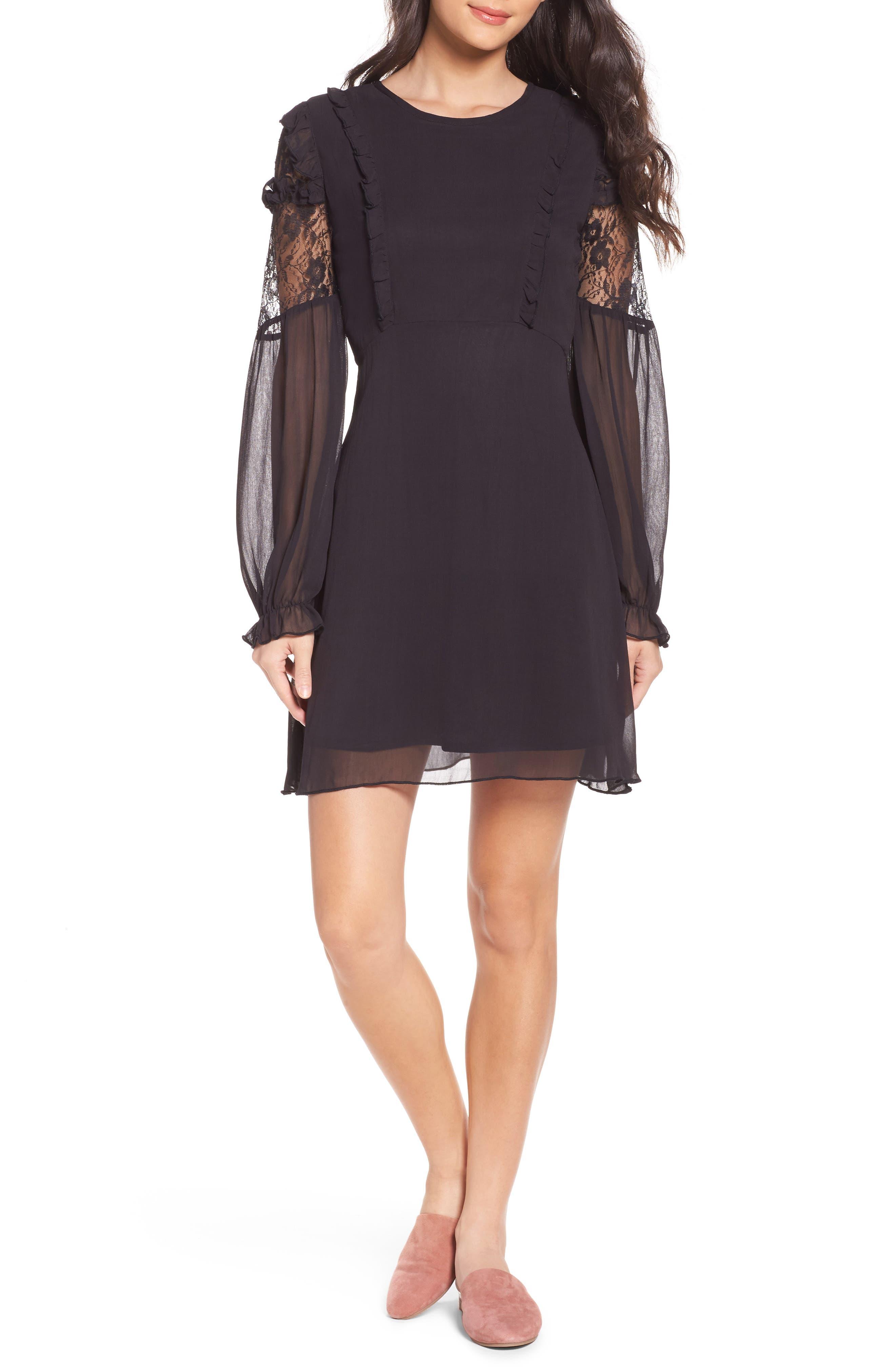 Lace & Chiffon Dress,                         Main,                         color, 001
