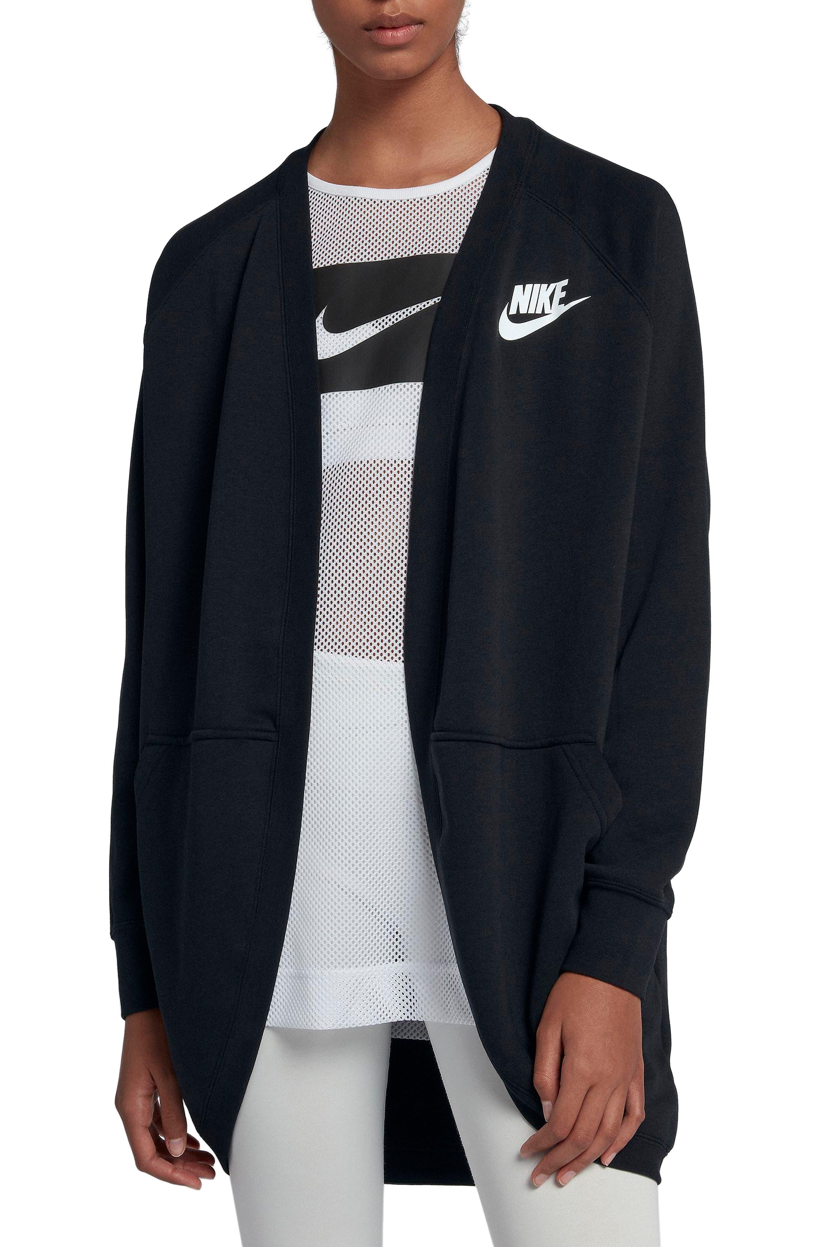 Sportswear Rally Cardigan,                             Main thumbnail 1, color,                             BLACK/ BLACK/ WHITE