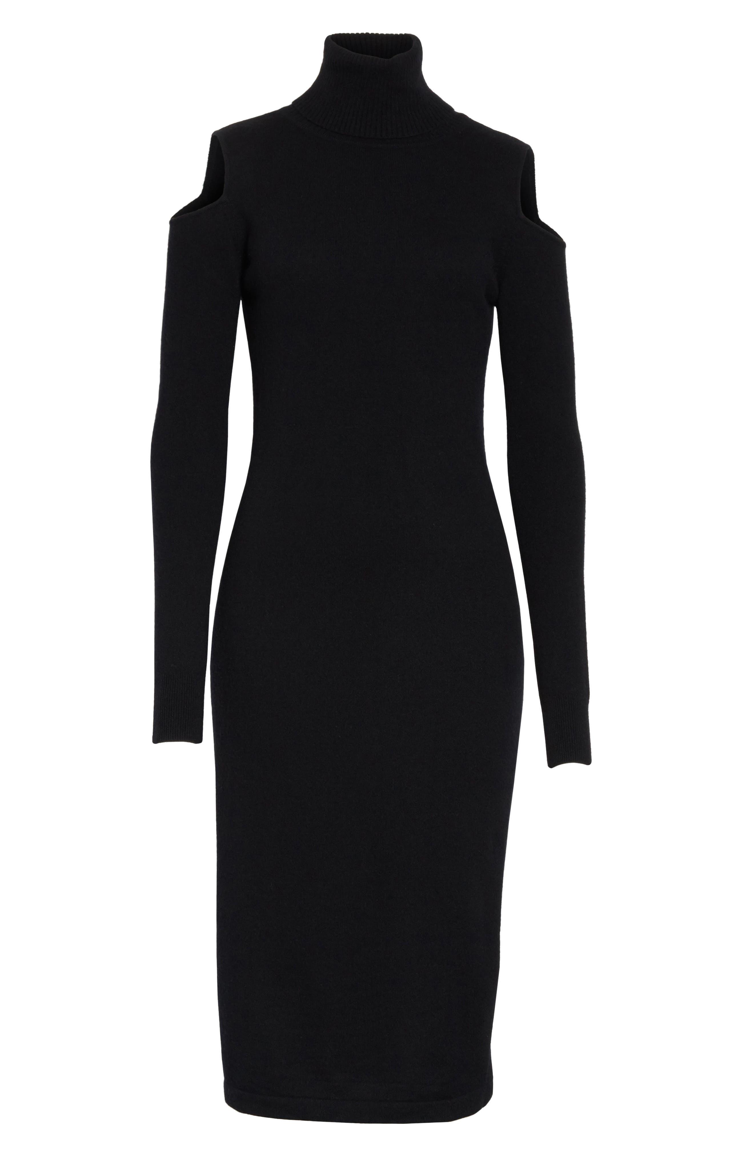 Cashmere Cold Shoulder Turtleneck Sweater Dress,                             Alternate thumbnail 11, color,