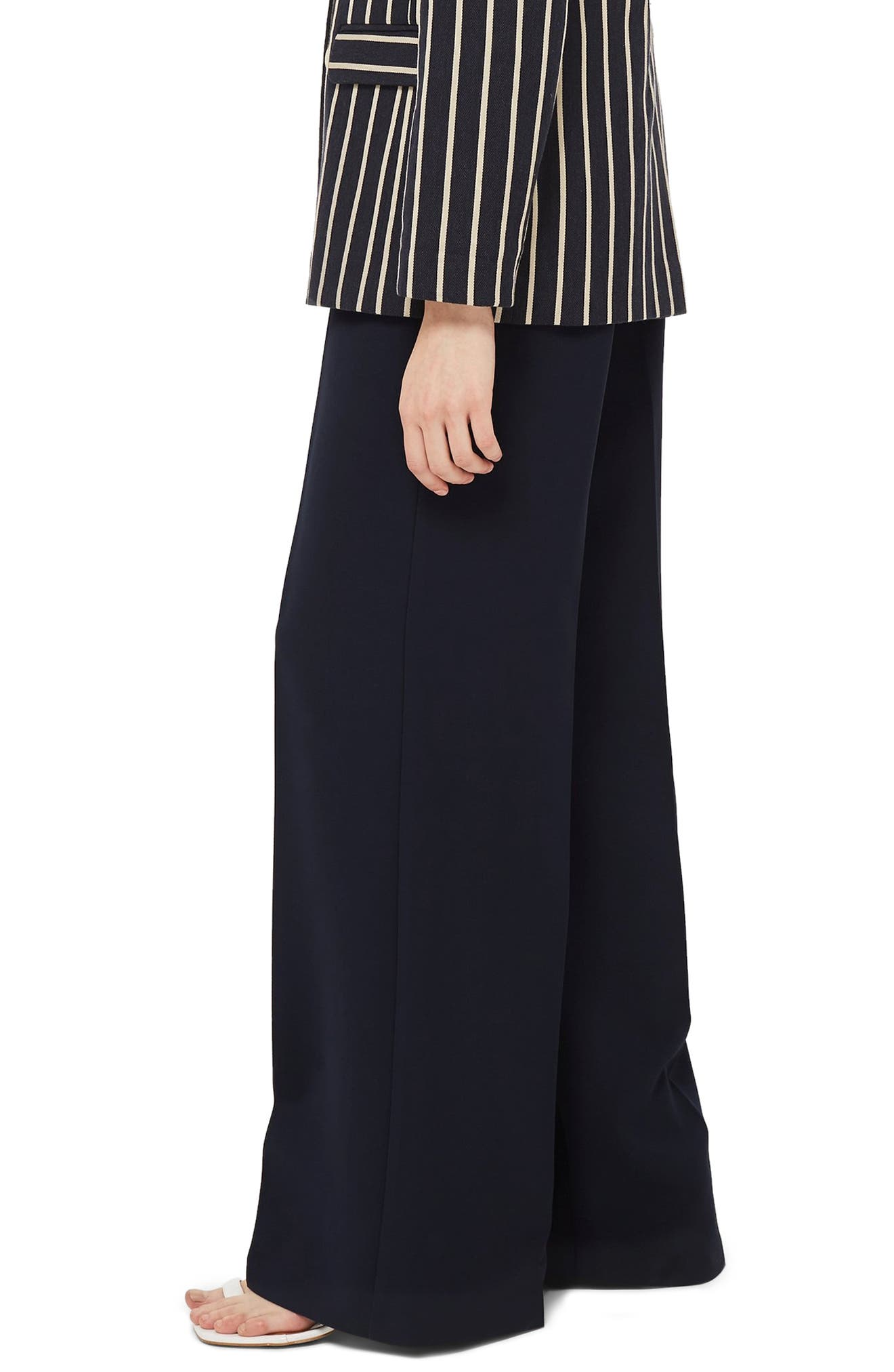 Clean High-Waist Wide Leg Trousers,                             Alternate thumbnail 3, color,                             NAVY BLUE