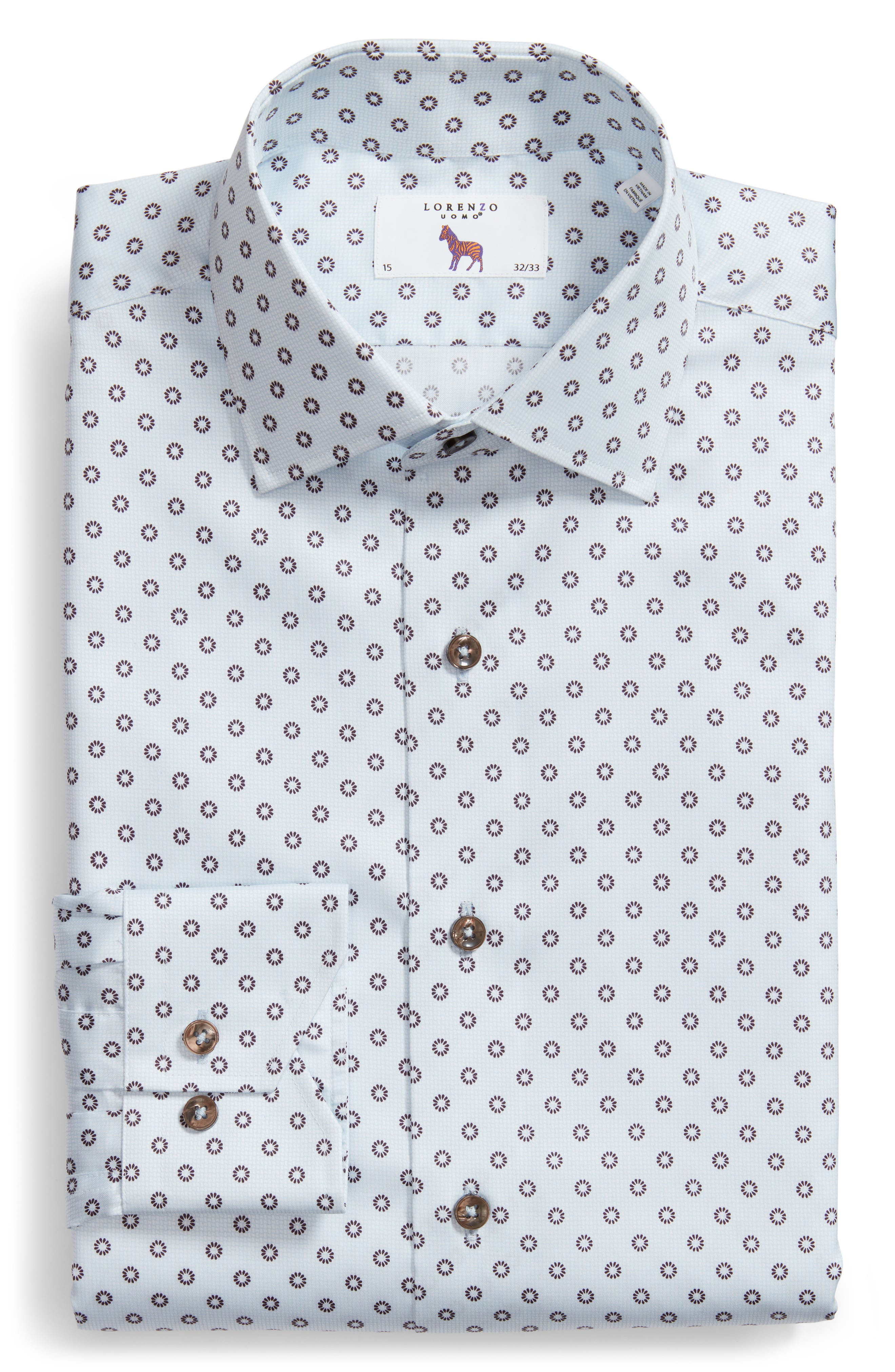 Trim Fit Floral Print Dress Shirt,                             Alternate thumbnail 5, color,                             LIGHT BLUE