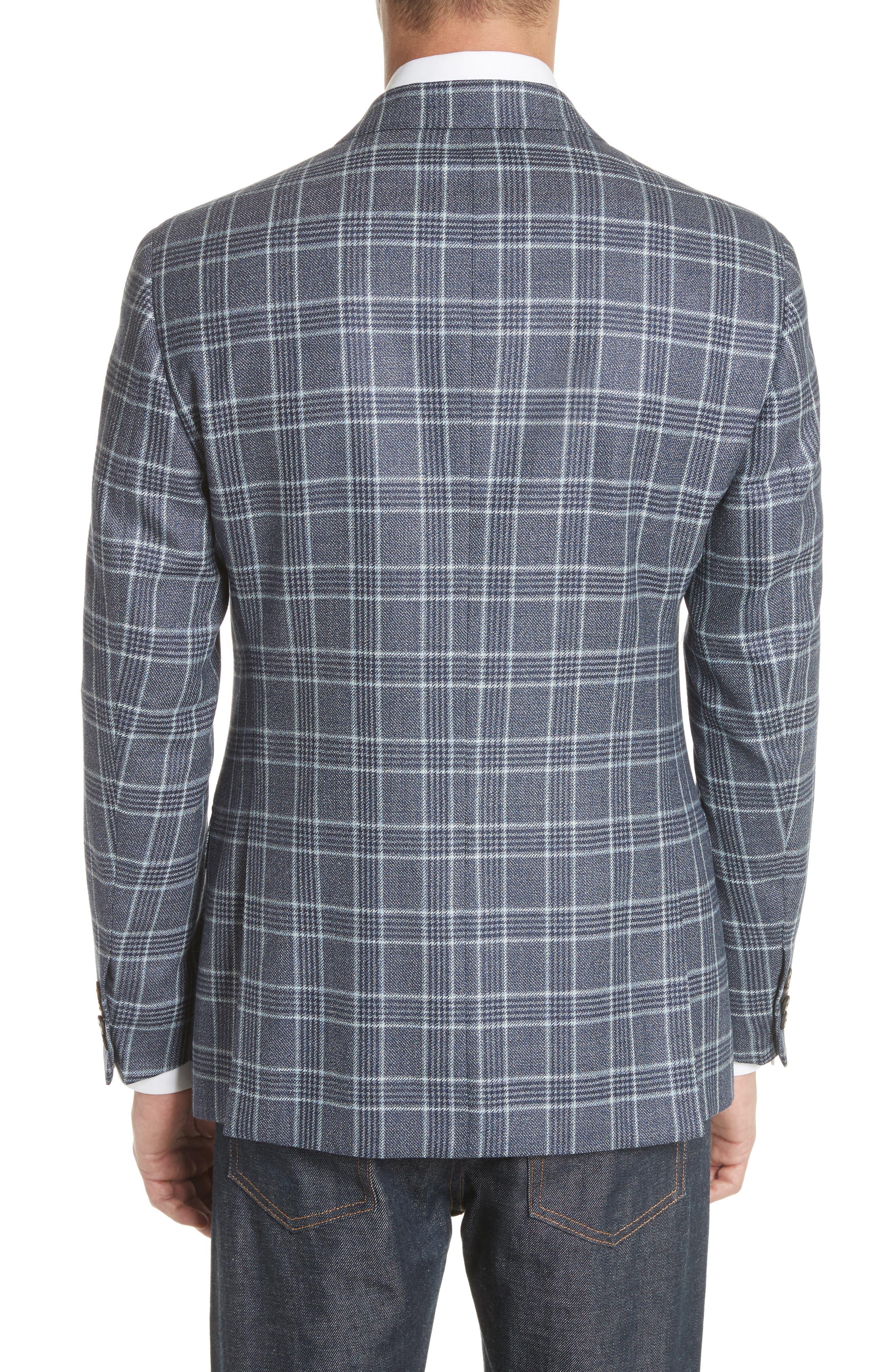 G Line Trim Fit Plaid Silk & Wool Sport Coat,                             Alternate thumbnail 2, color,                             459