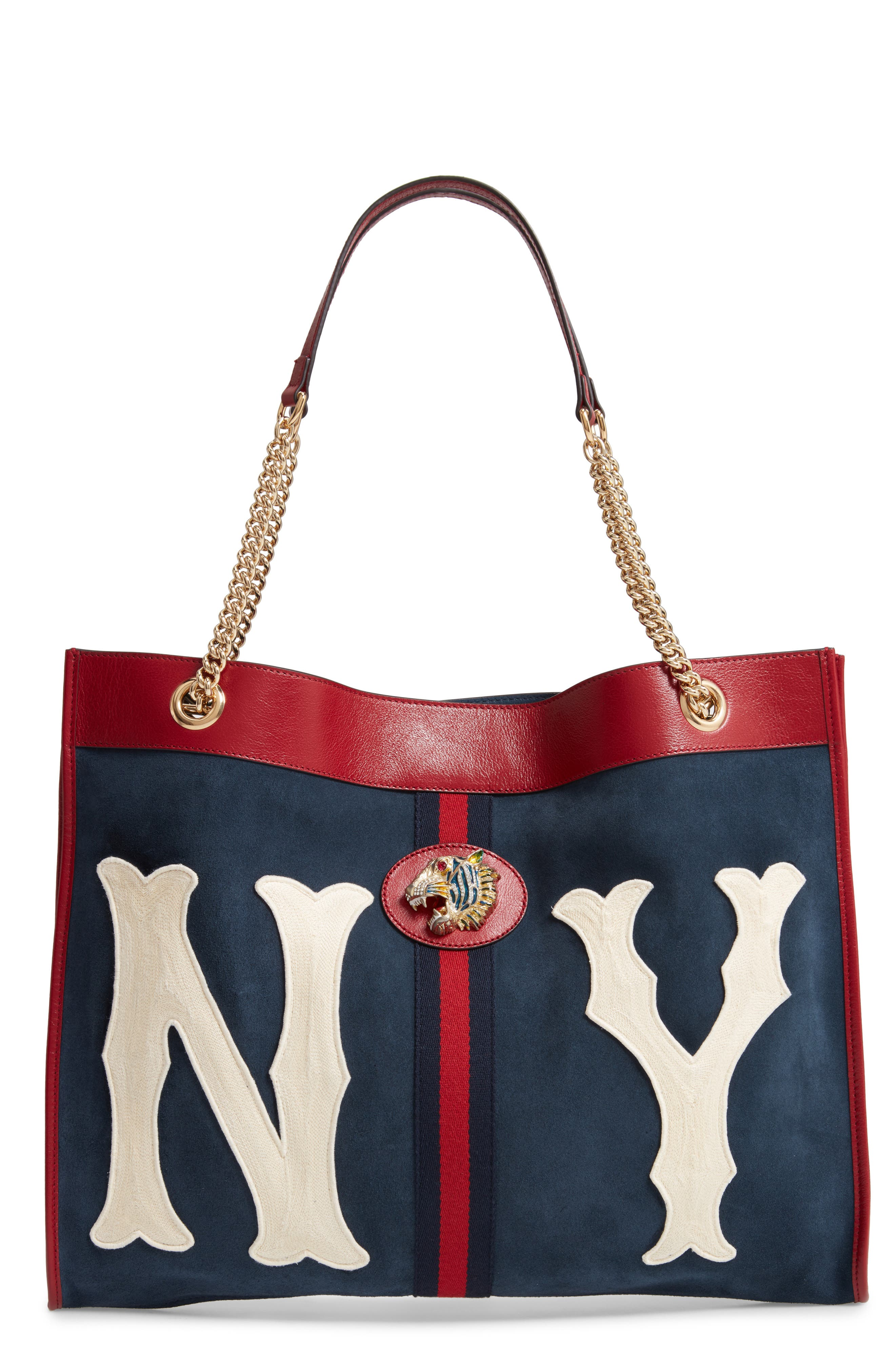Linea Tiger NY Yankees Suede & Leather Tote,                             Main thumbnail 1, color,                             NEW BLUE/ CERISE/ BLUE RED