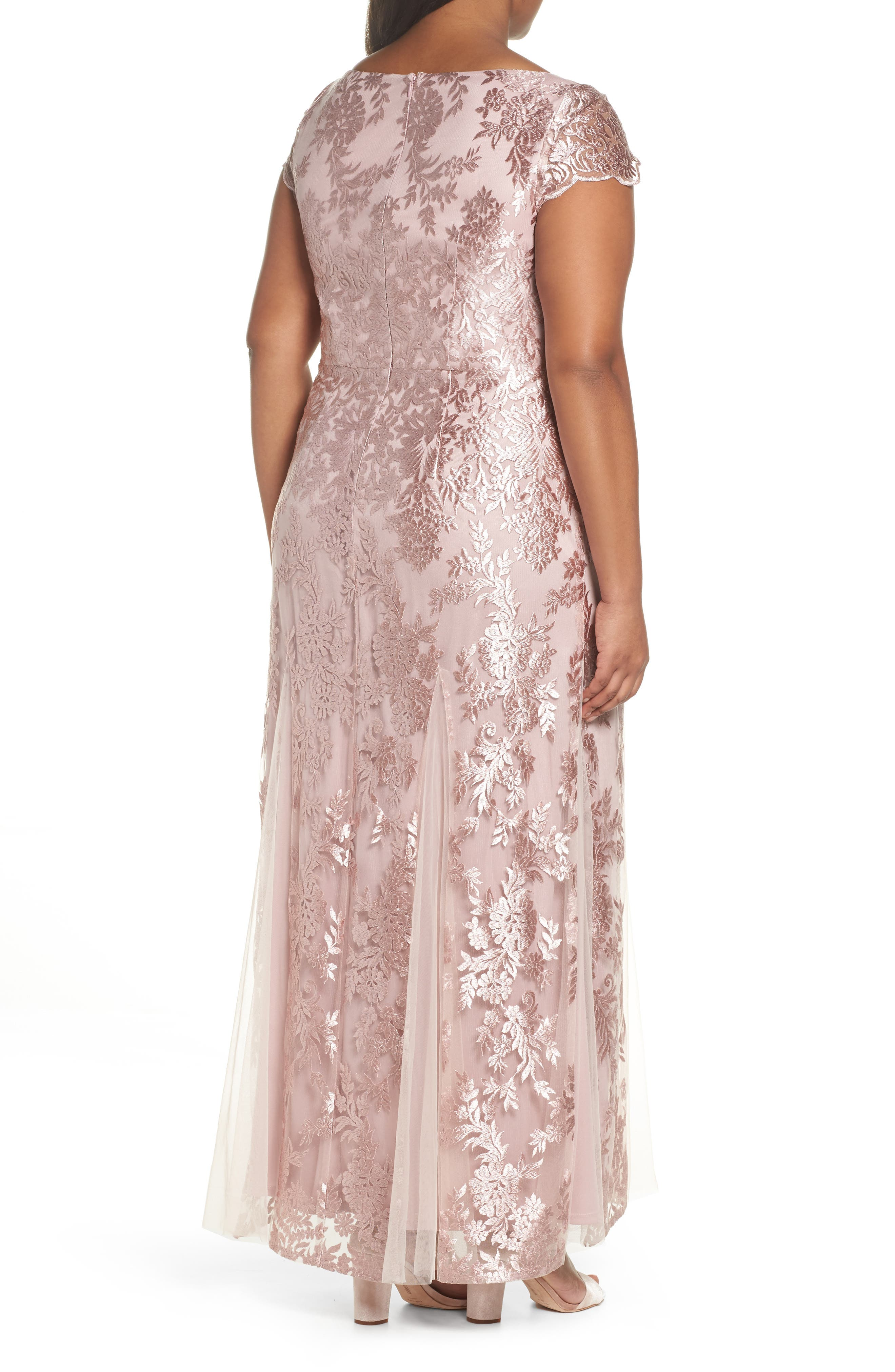 Lace A-Line Gown,                             Alternate thumbnail 2, color,                             DUSTY PINK
