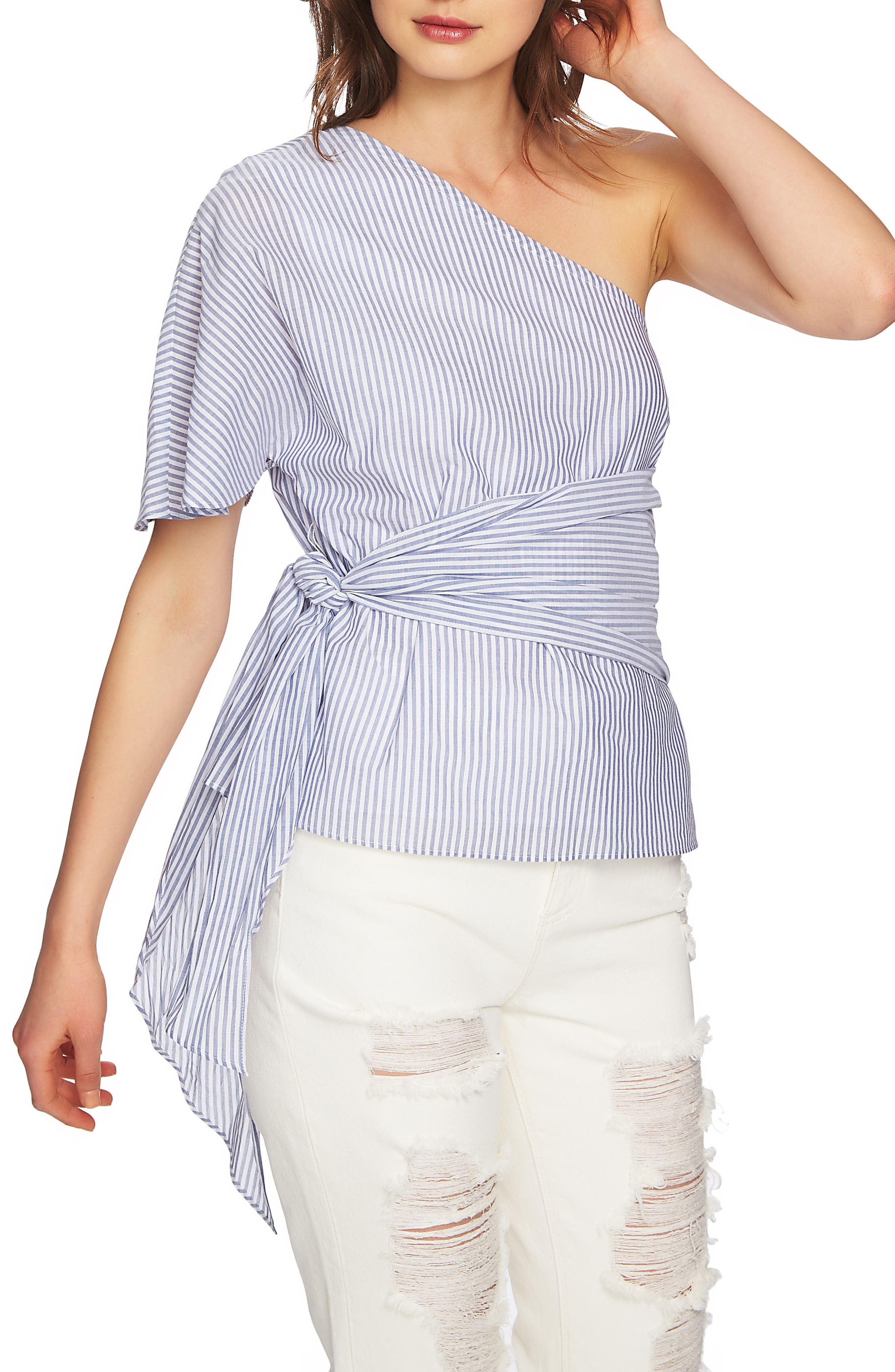 Tie Waist One-Shoulder Blouse,                             Main thumbnail 1, color,                             HARBOR LIGHT