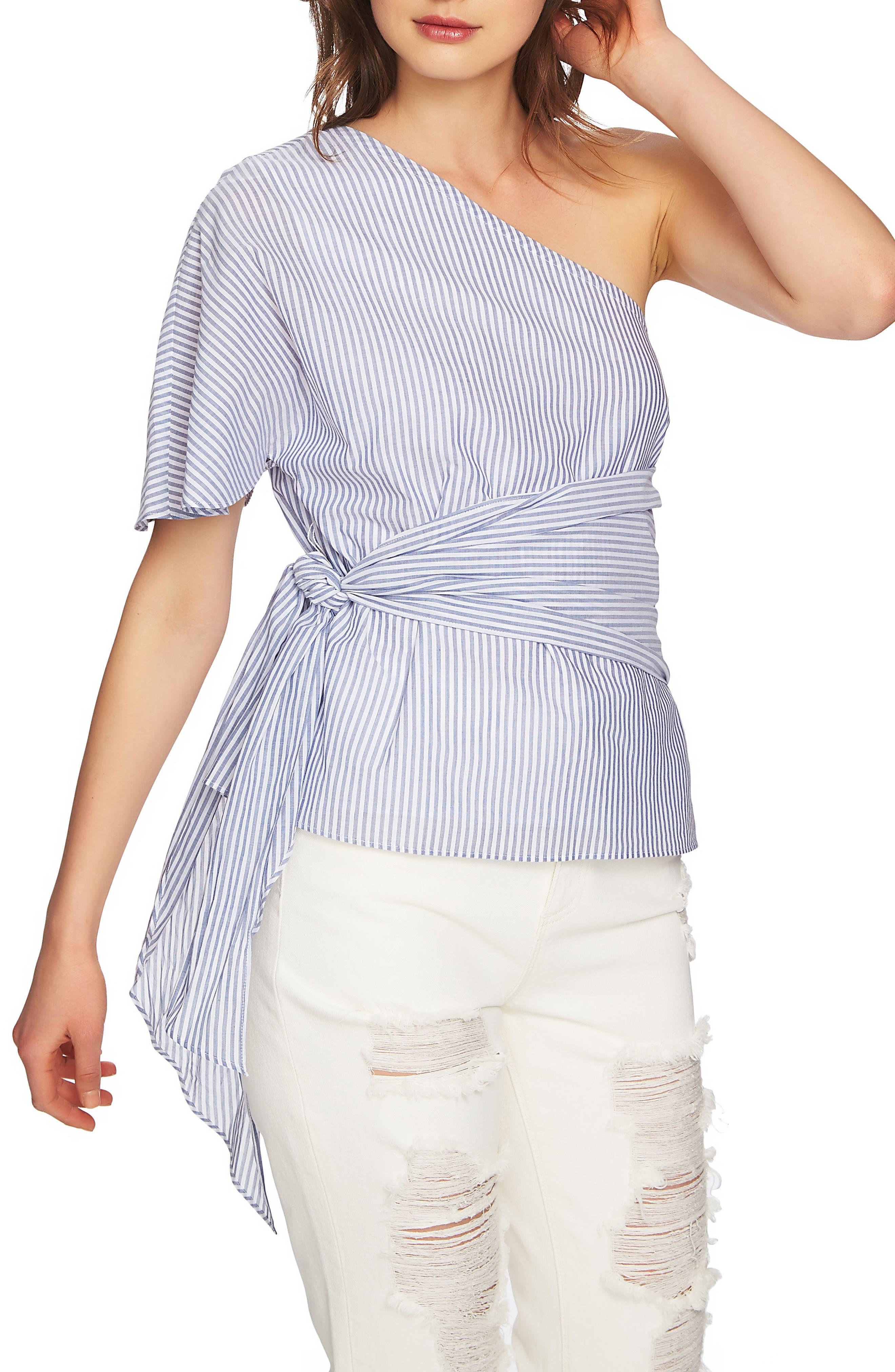 Tie Waist One-Shoulder Blouse,                         Main,                         color, HARBOR LIGHT