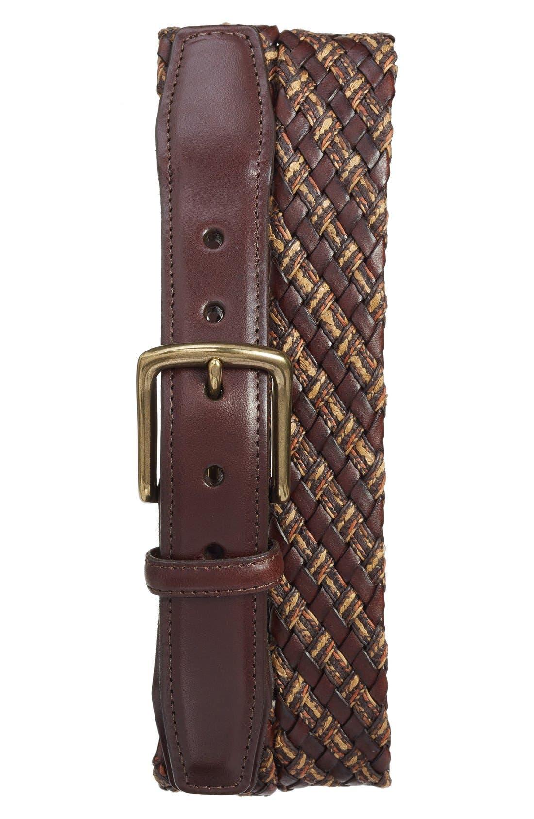Woven & Leather Belt,                             Main thumbnail 1, color,                             200