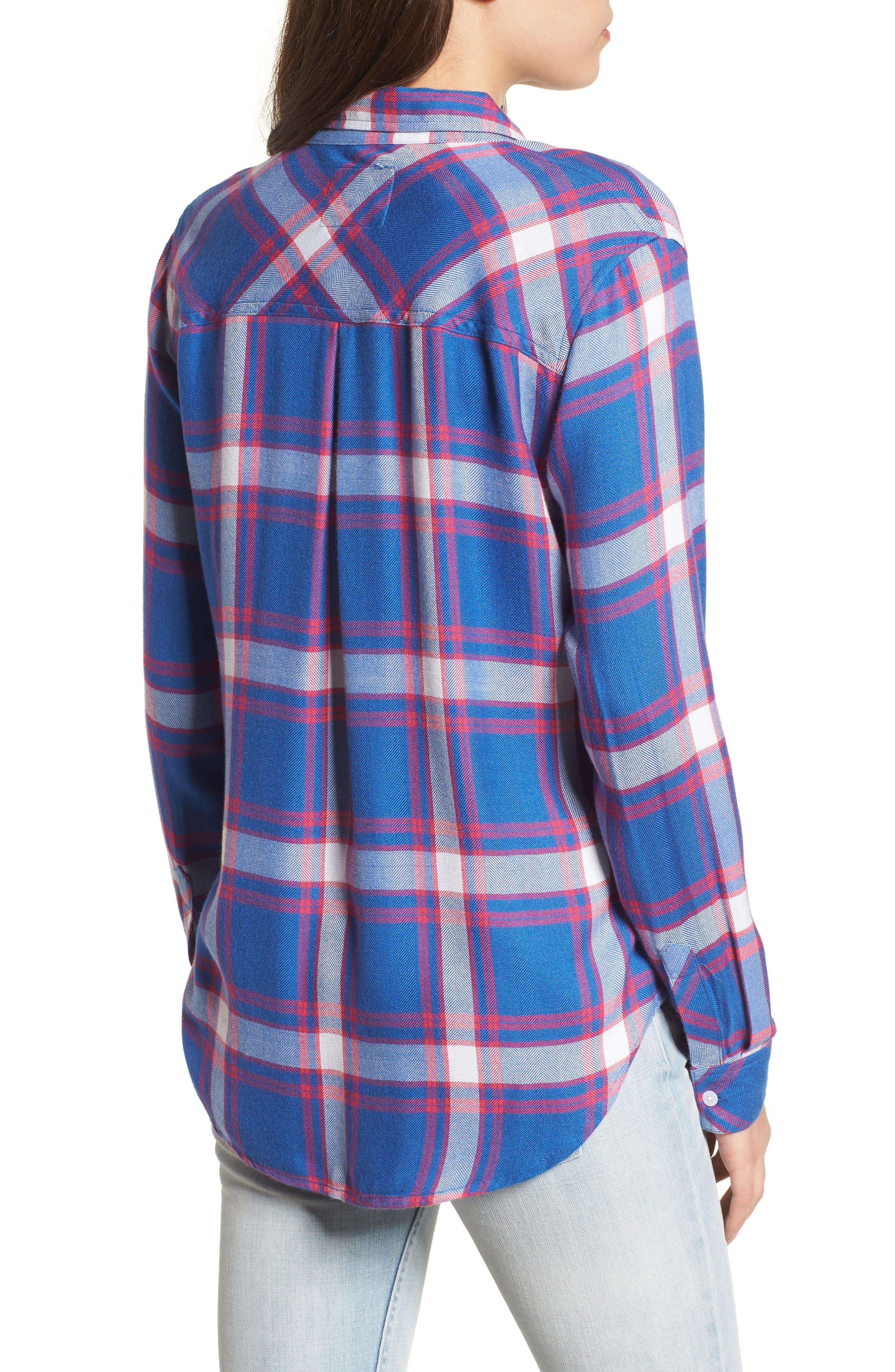 Hunter Plaid Shirt,                             Alternate thumbnail 2, color,                             RUBY SKY WHITE