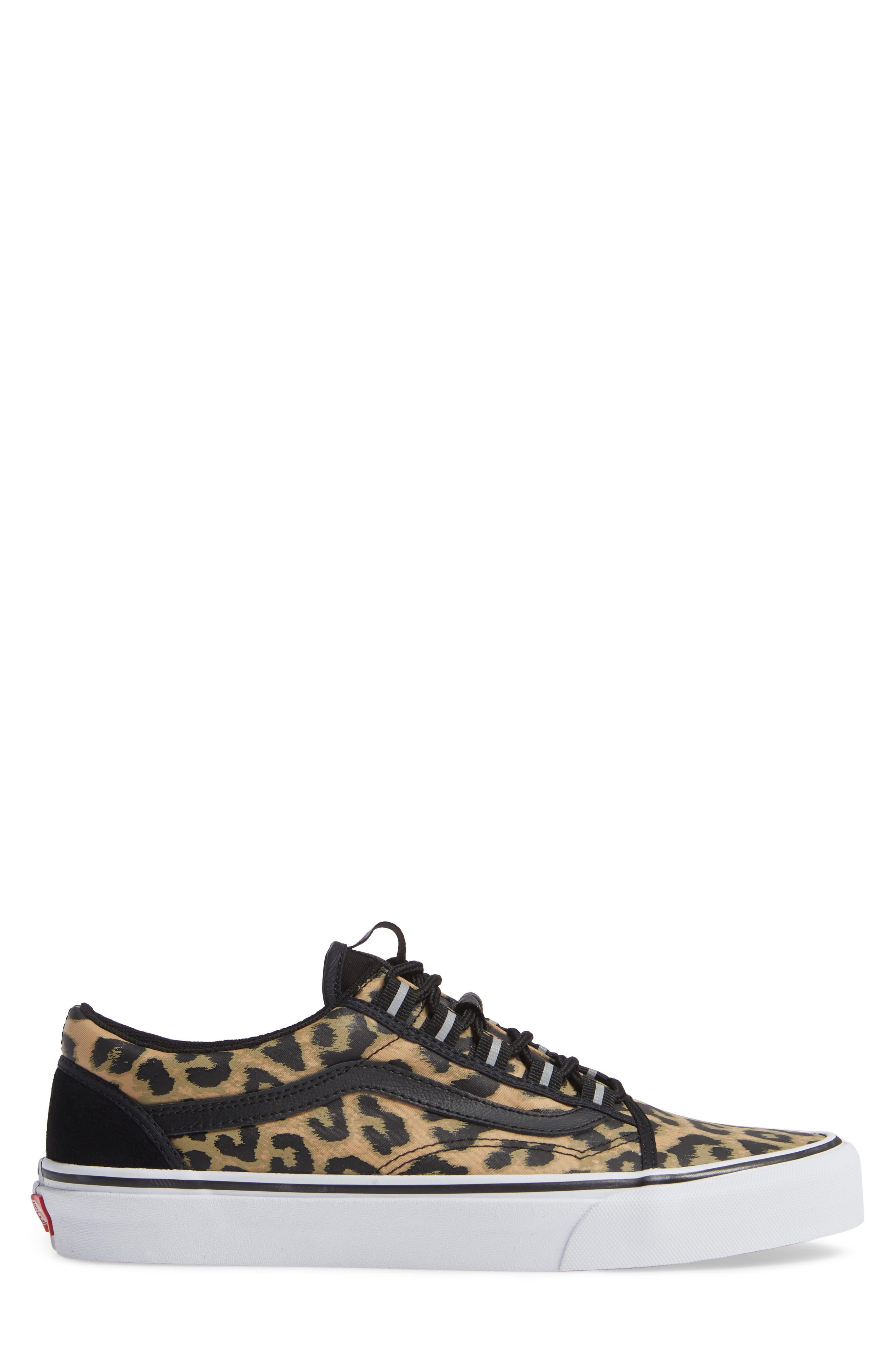 Old Skool Ghillie Sneaker,                             Alternate thumbnail 3, color,                             BLACK NYLON/ LEOPARD NYLON