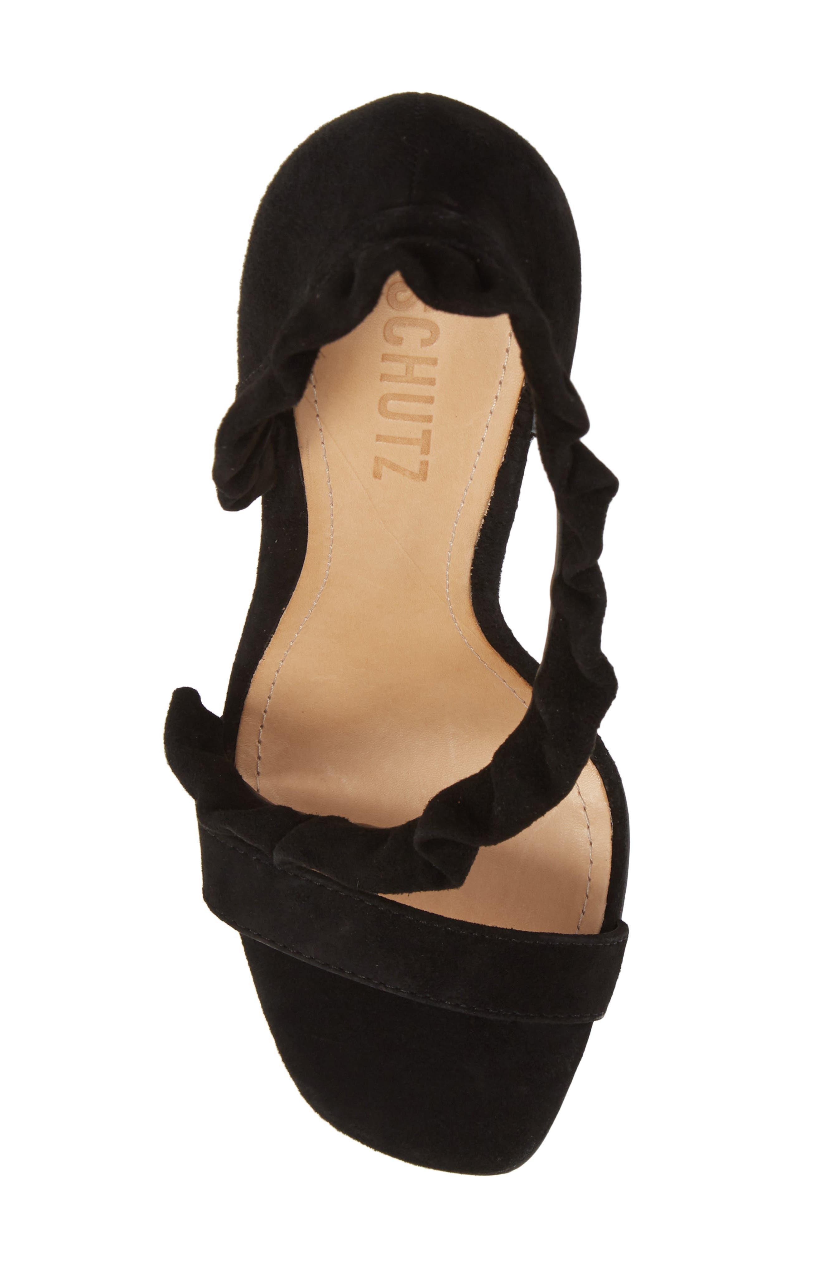 Aim Ruffle Sandal,                             Alternate thumbnail 5, color,                             BLACK SUEDE