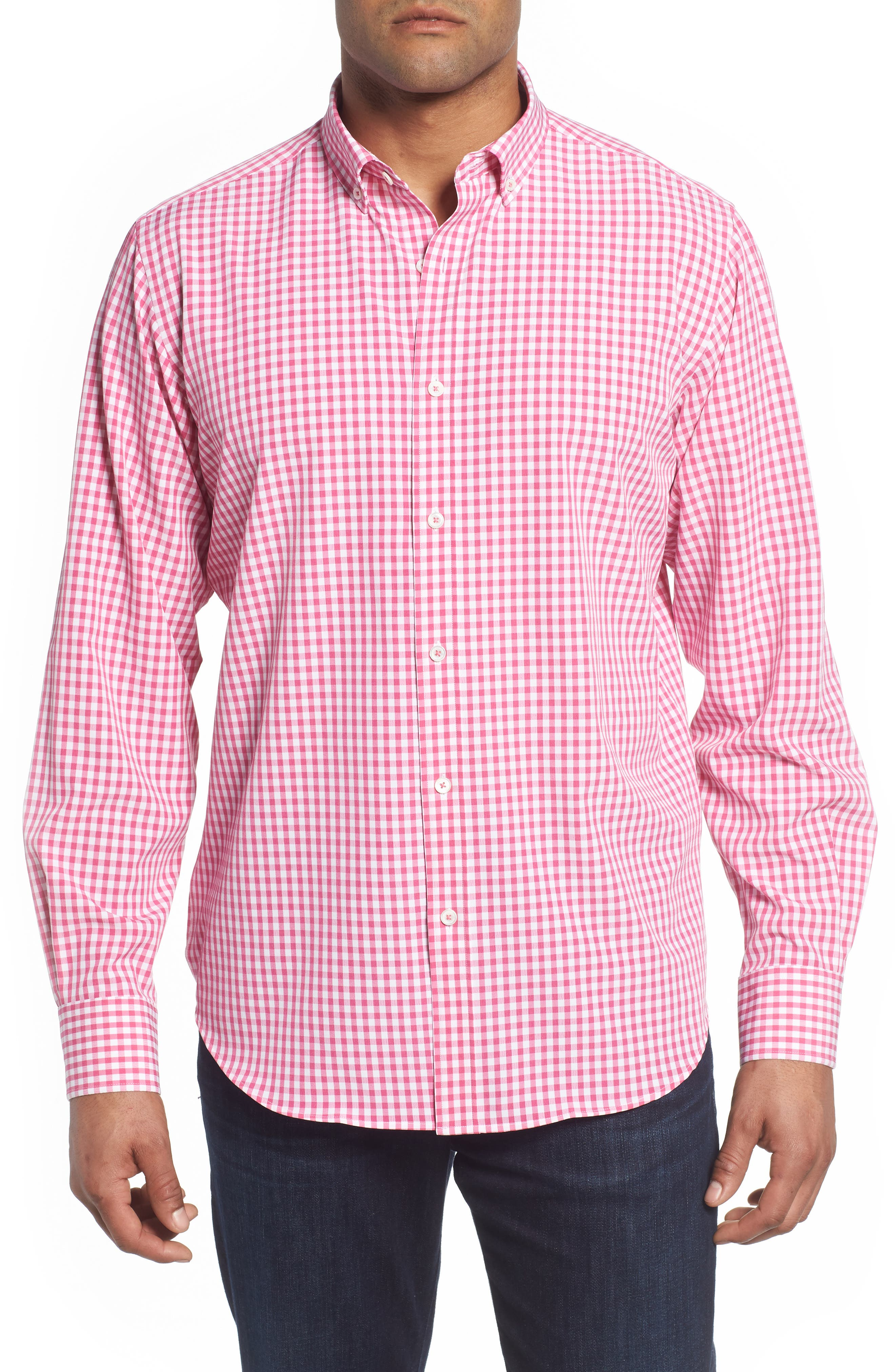 Classic Fit Gingham Performance Sport Shirt,                             Main thumbnail 1, color,                             PINK