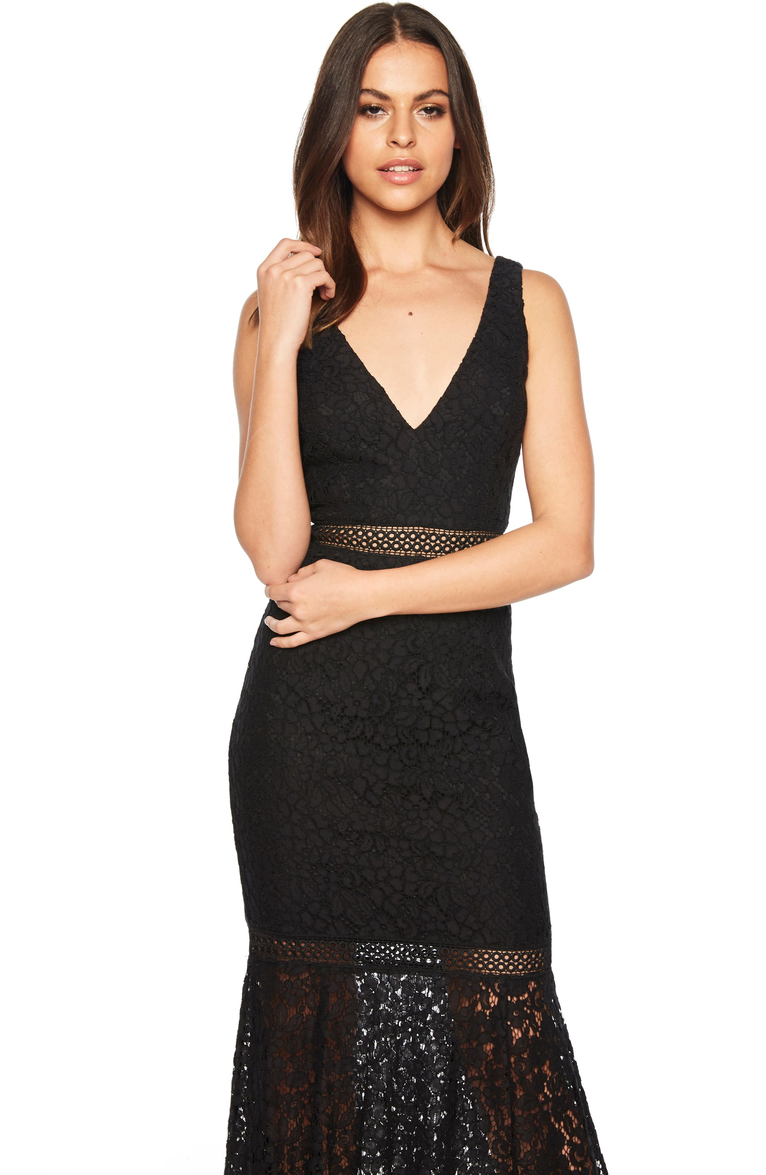 BARDOT,                             Sienna Lace Trumpet Dress,                             Alternate thumbnail 5, color,                             001
