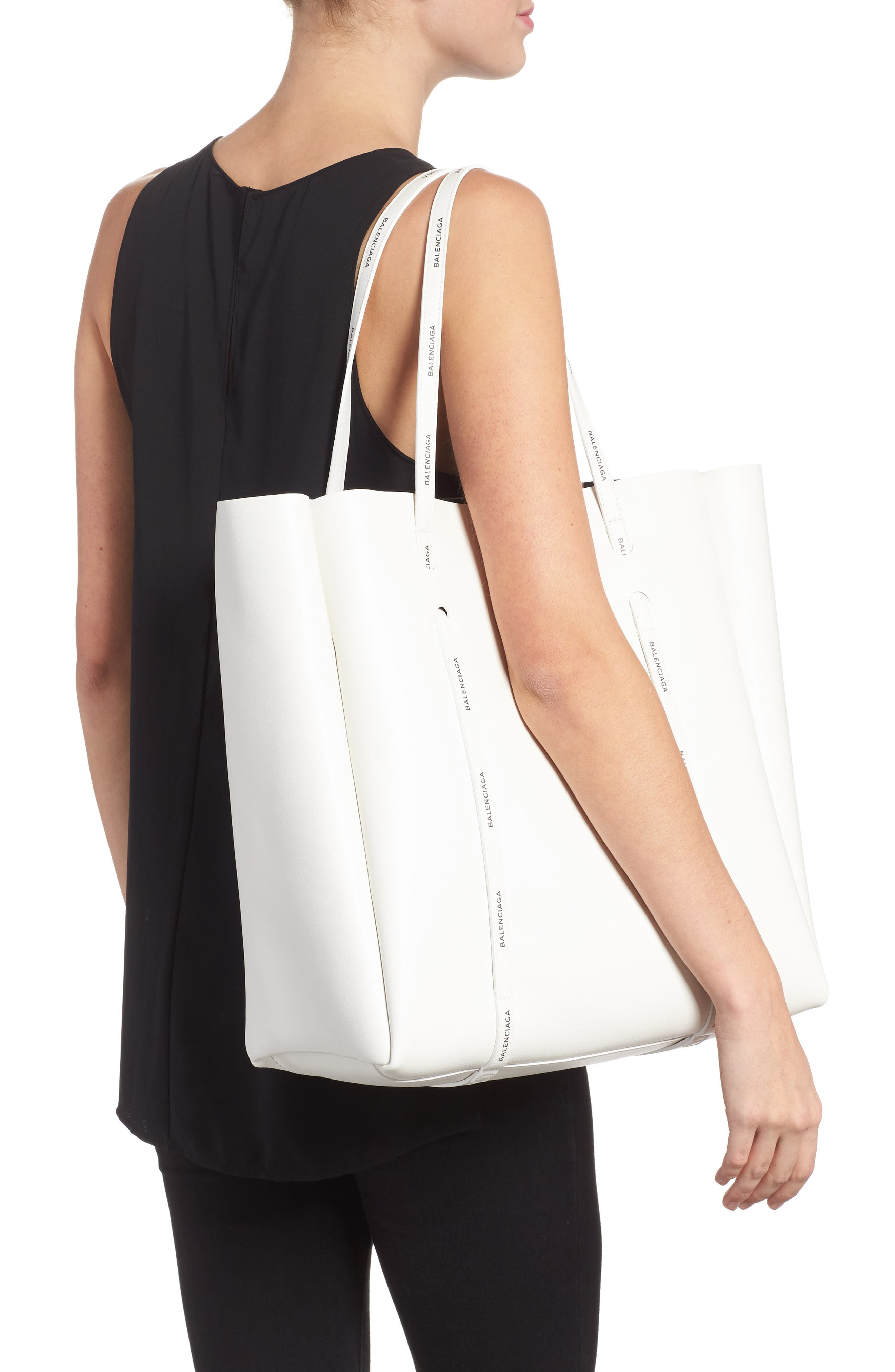 Medium Everyday Calfskin Tote,                             Alternate thumbnail 2, color,                             BLANC/ BLACK