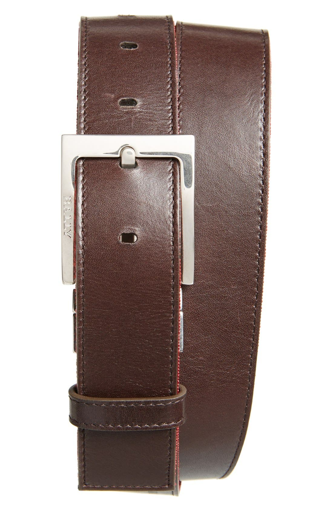 'Tonni' Stripe Canvas & Leather Belt,                             Alternate thumbnail 3, color,                             CHOCOLATE/ RED/ BEIGE