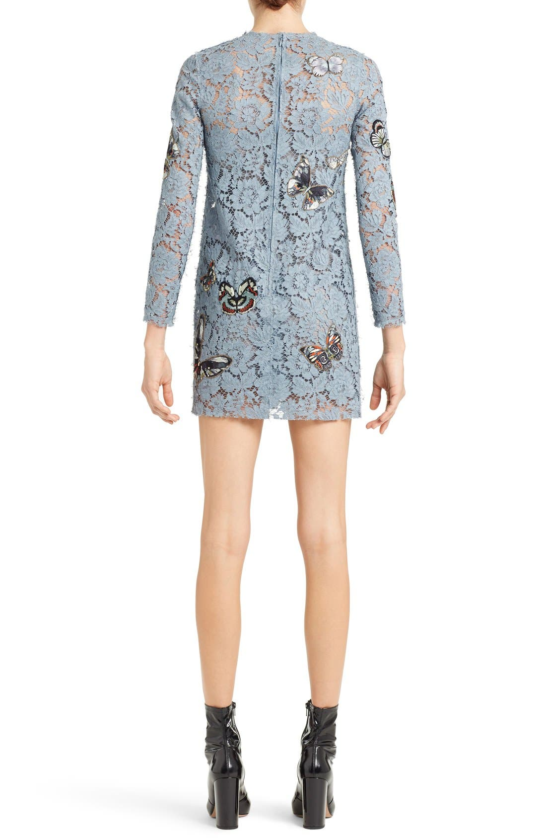 Butterfly Embroidered Lace Dress,                             Alternate thumbnail 2, color,                             SLATE BLUE