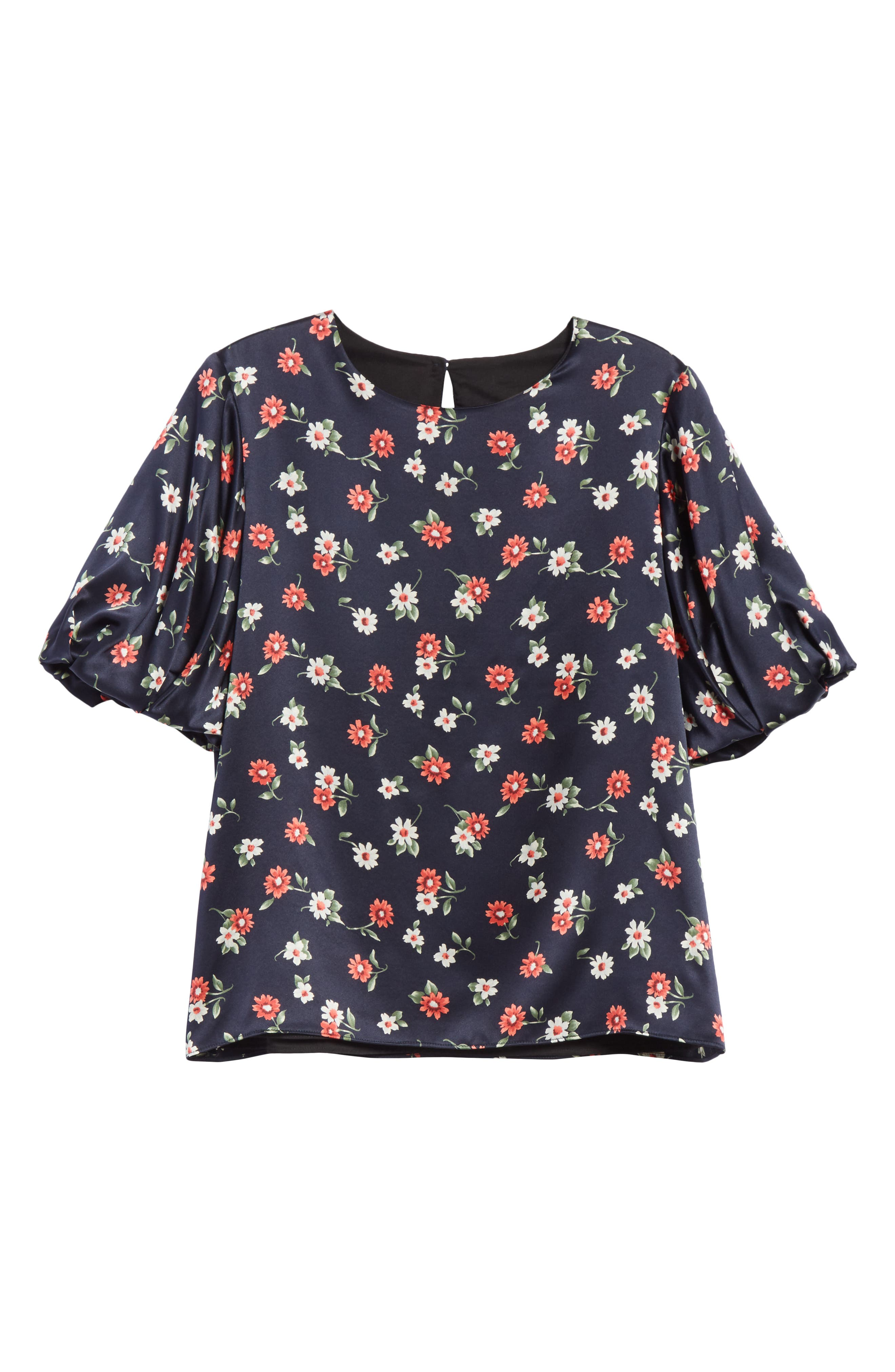Melinda Puff Sleeve Floral Blouse,                             Alternate thumbnail 6, color,                             004