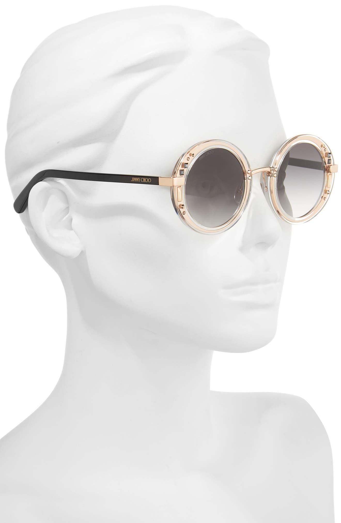 Gems 48mm Round Sunglasses,                             Alternate thumbnail 2, color,                             100
