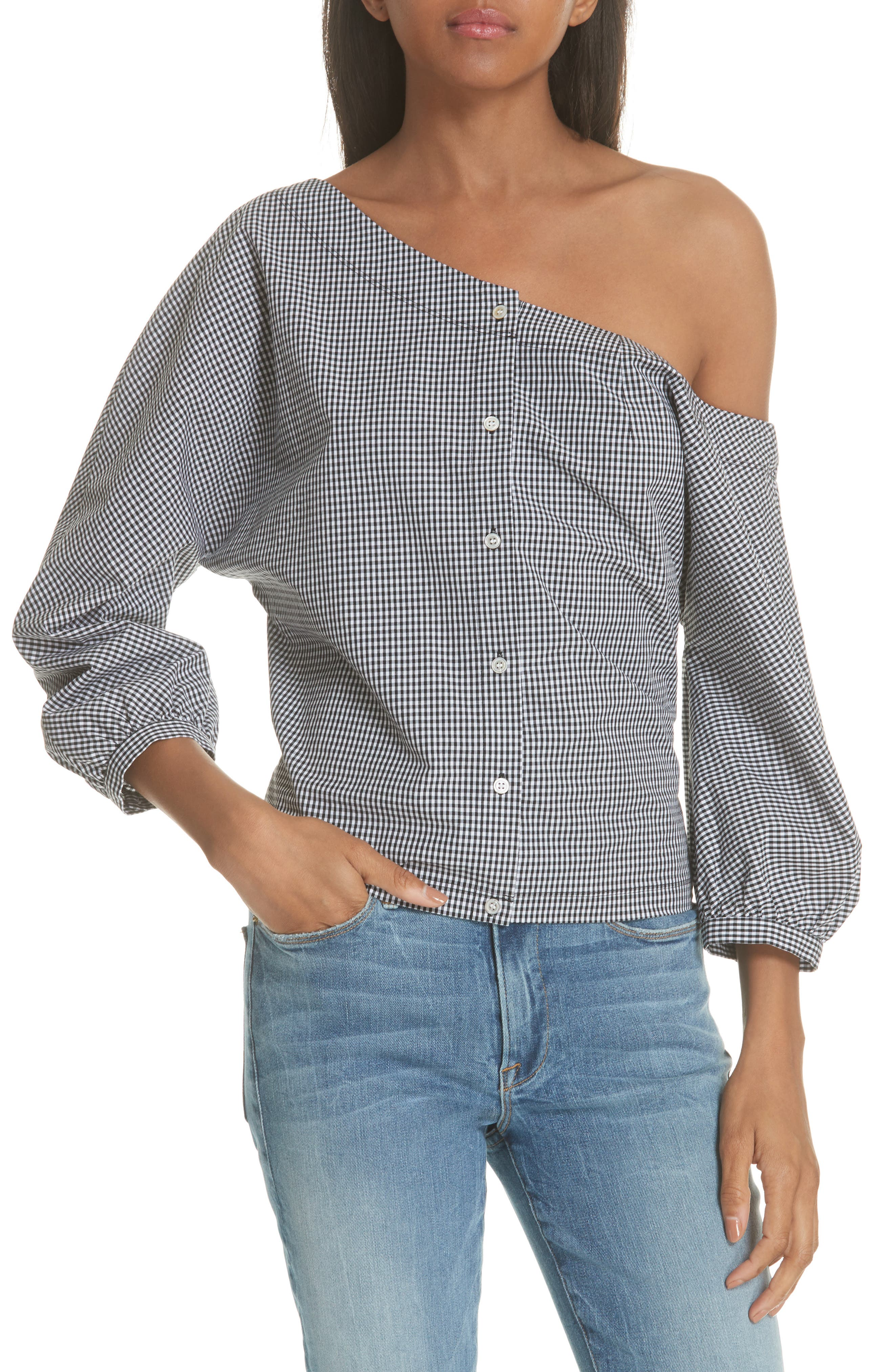 Gingham Tie Back Off the Shoulder Top,                             Main thumbnail 1, color,                             012