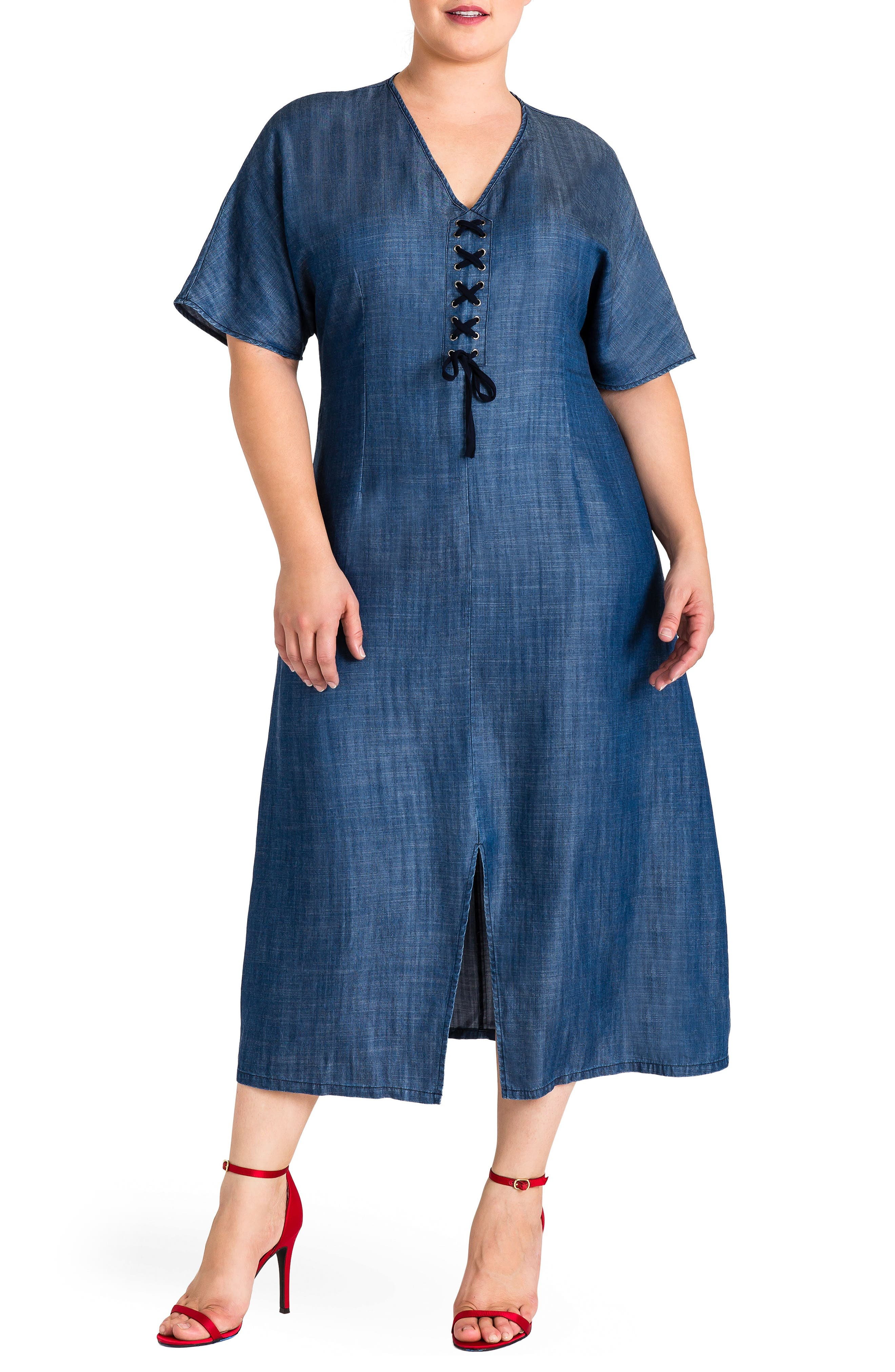 Standard & Practices Meme Tencel Midi Dress,                             Main thumbnail 1, color,                             NAVY