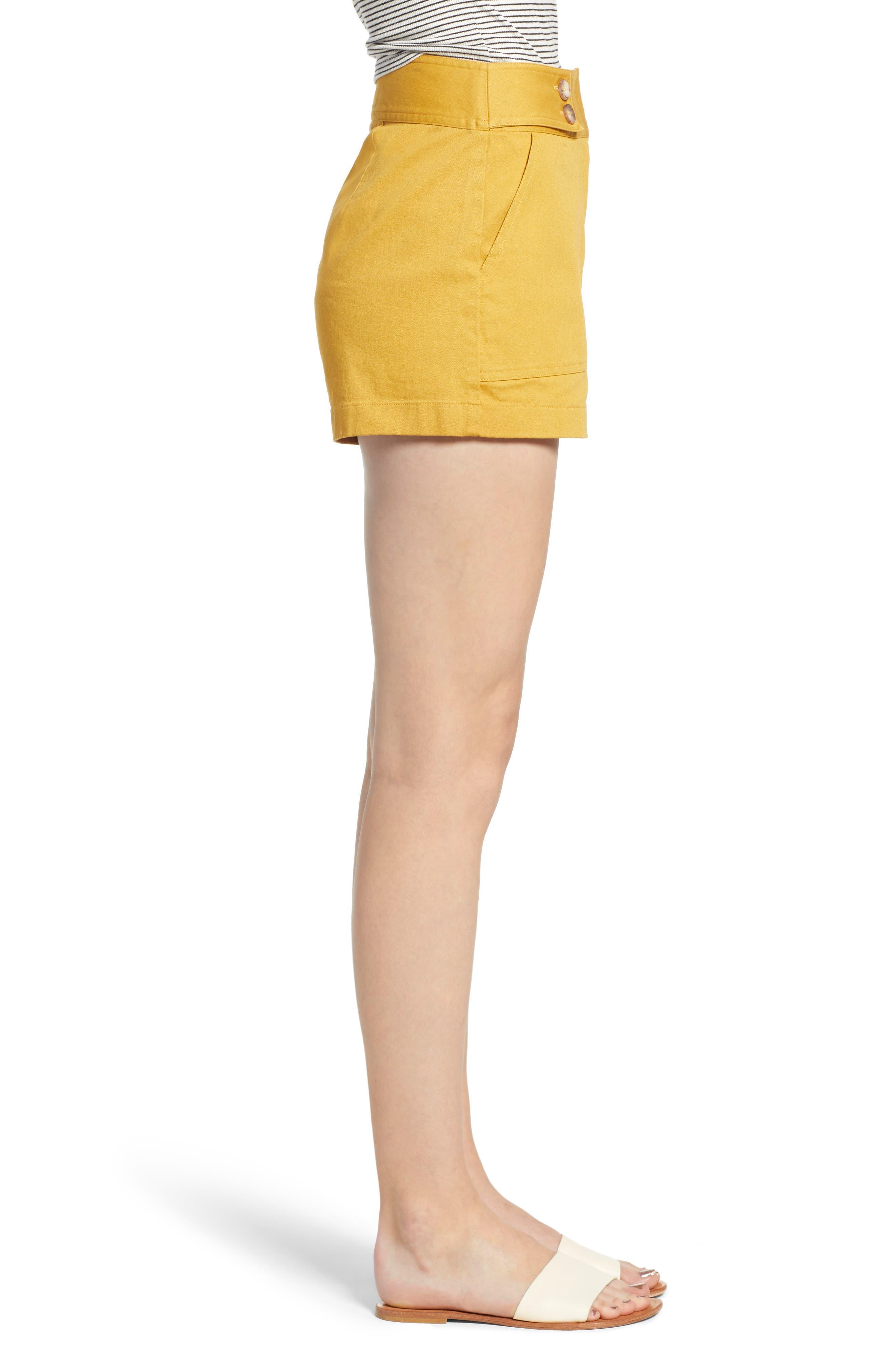 High Waist Sailor Shorts,                             Alternate thumbnail 3, color,                             MUSTARD