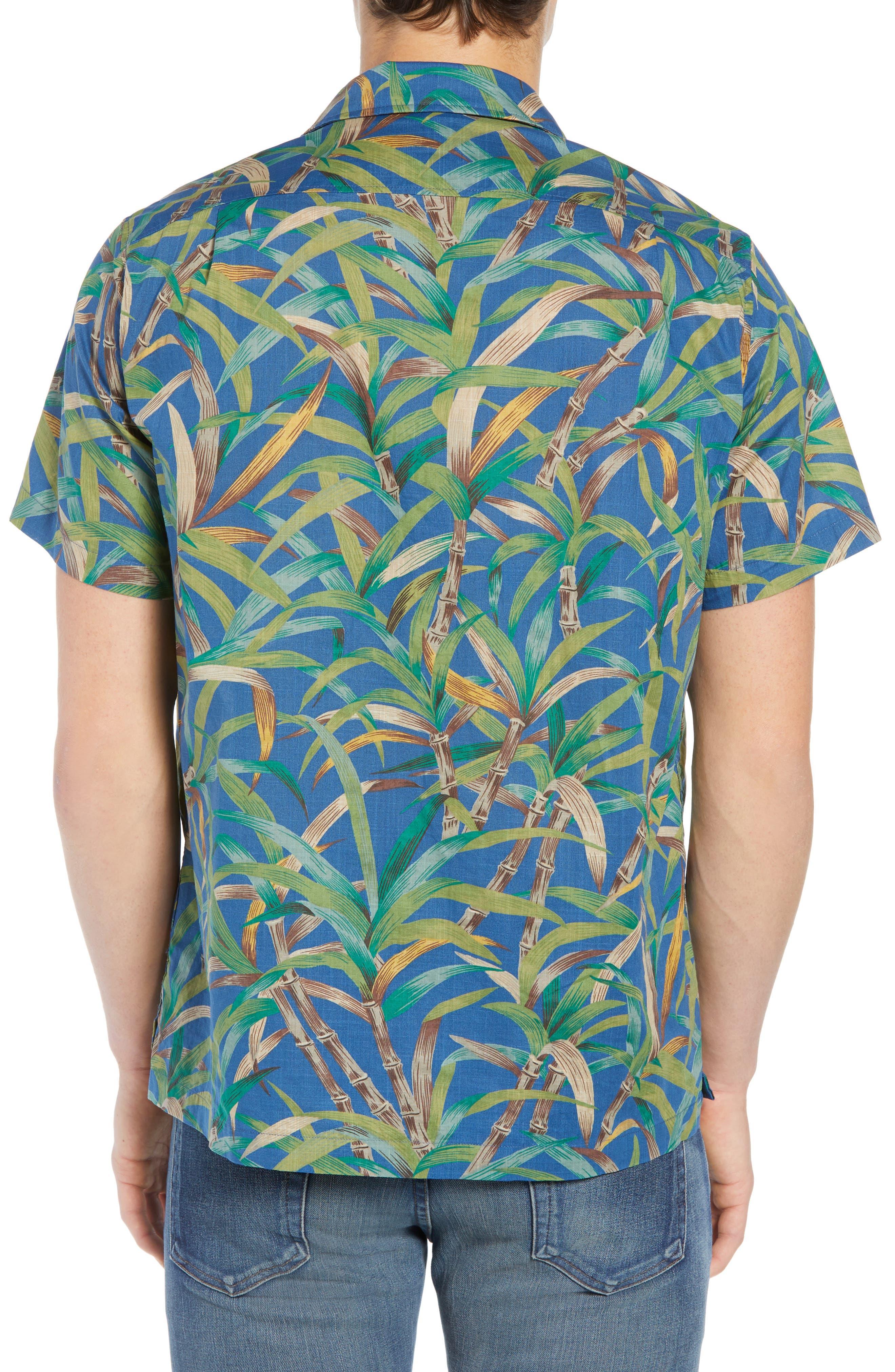Regular Fit Leaf Print Slub Cotton Sport Shirt,                             Alternate thumbnail 3, color,                             500