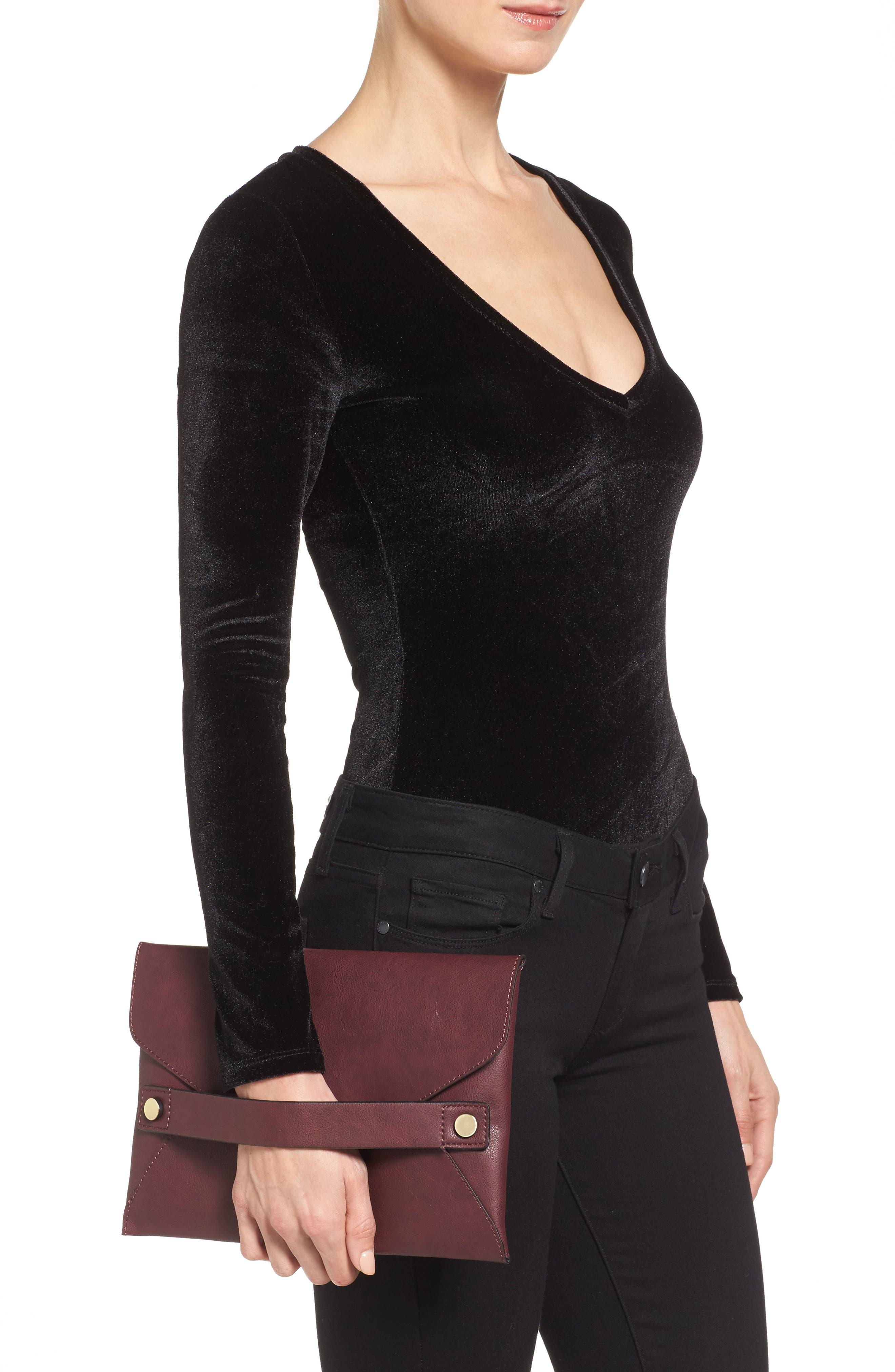 Karen Faux Leather Envelope Clutch,                             Alternate thumbnail 6, color,