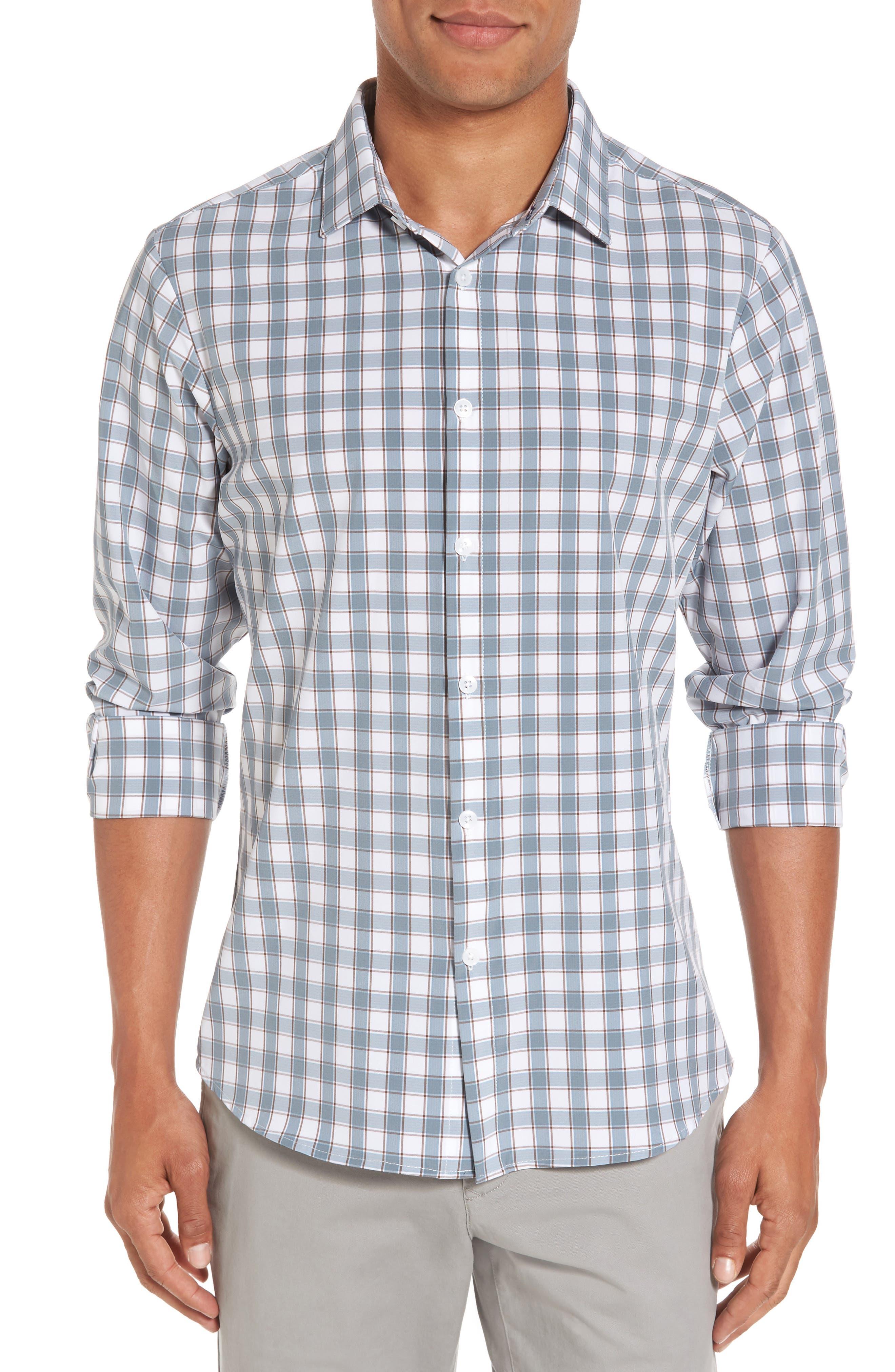 Covington Blue Shadow & Toffee Check Sport Shirt,                         Main,                         color, 400