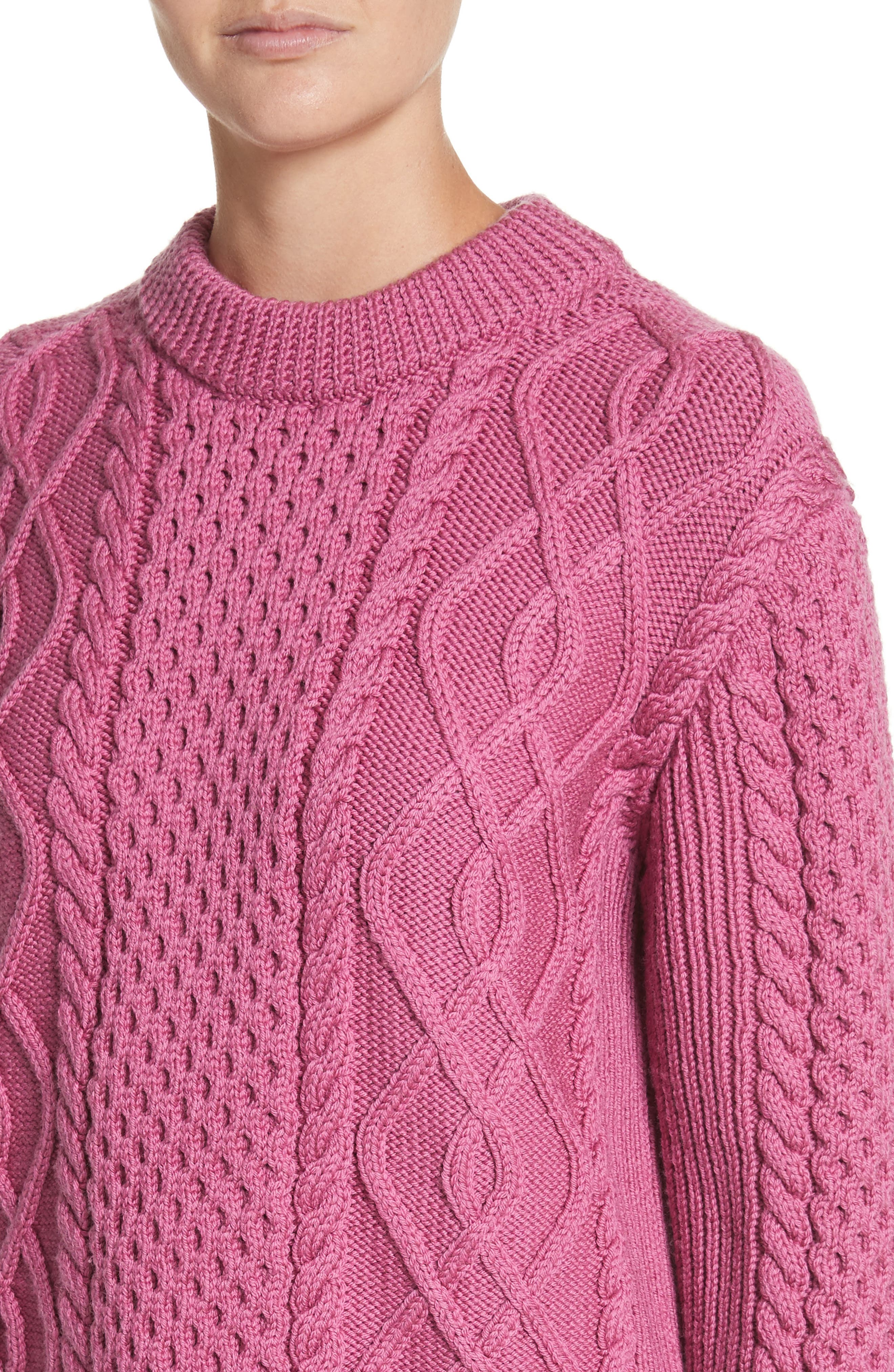 Merino Wool Cable Knit Sweater,                             Alternate thumbnail 4, color,