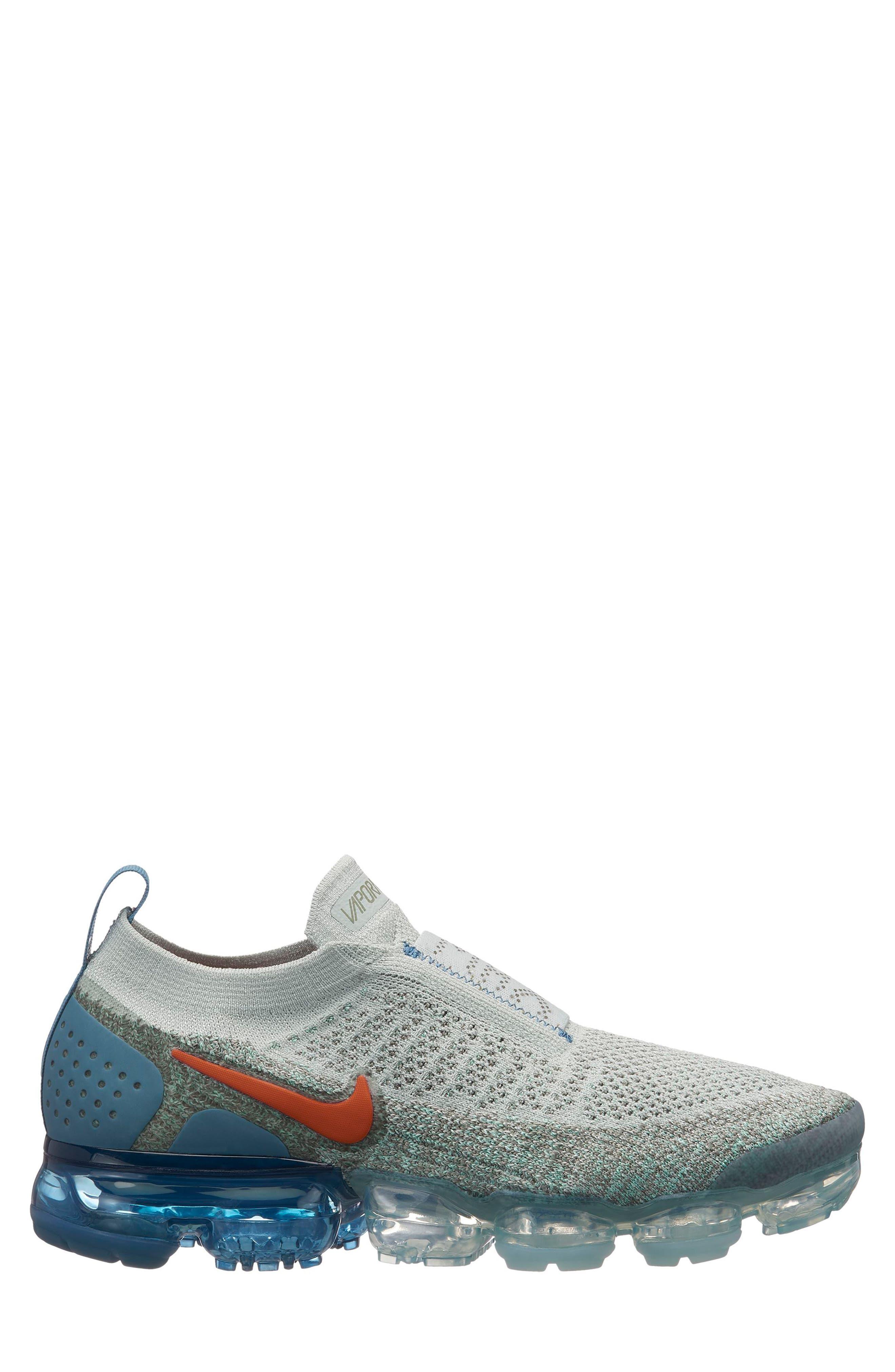 Air VaporMax Flyknit MOC 2 Running Shoe,                         Main,                         color, SILVER/ CAMPFIRE ORANGE/ BLACK