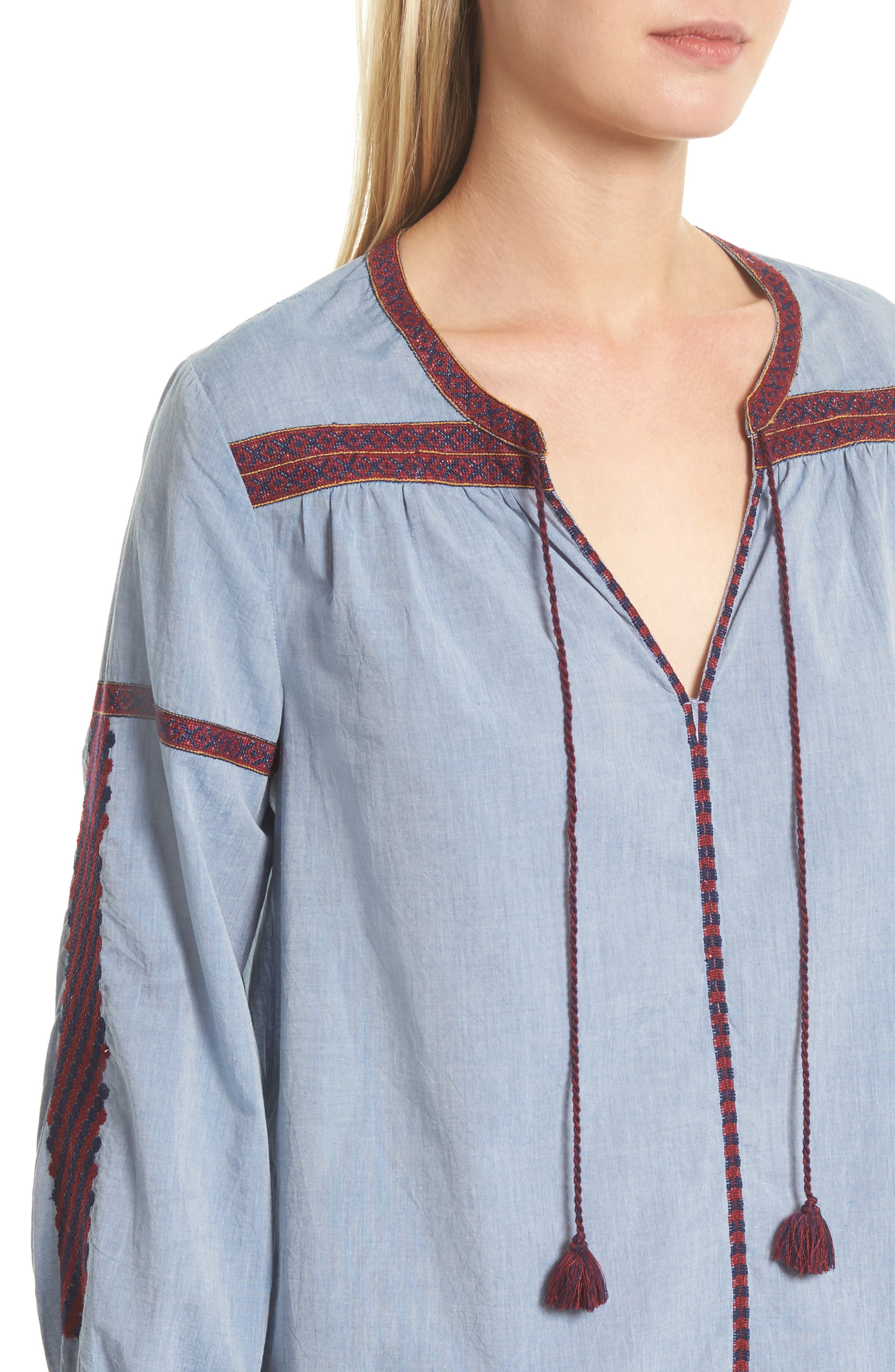 Marlen Embroidered Chambray Top,                             Alternate thumbnail 4, color,                             470