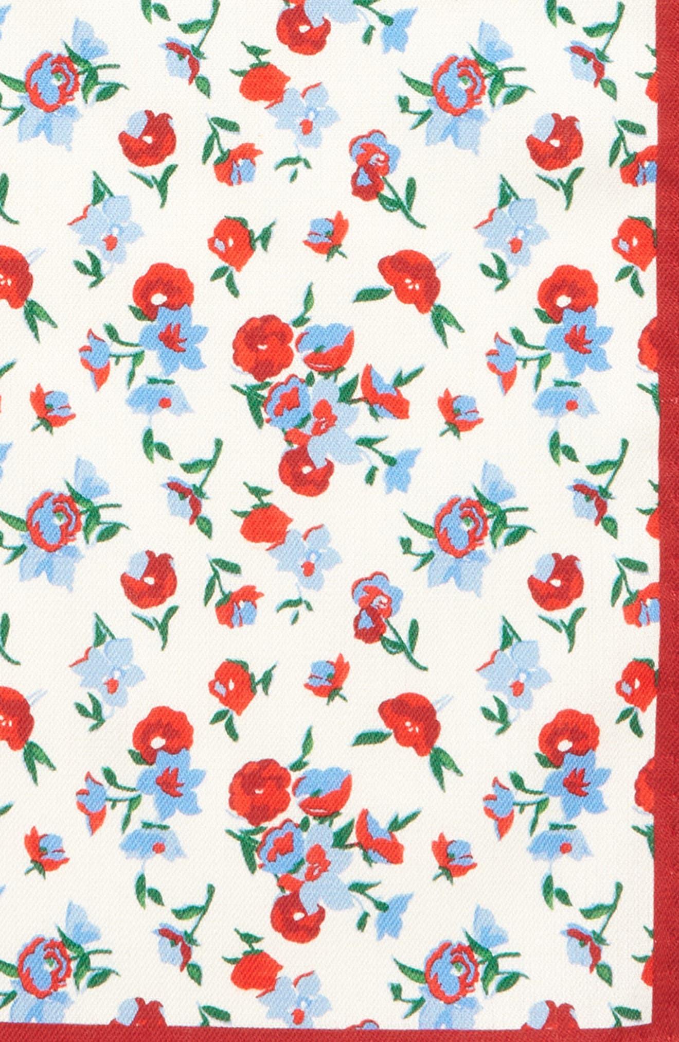 Floral Silk Pocket Square,                             Alternate thumbnail 3, color,                             RED