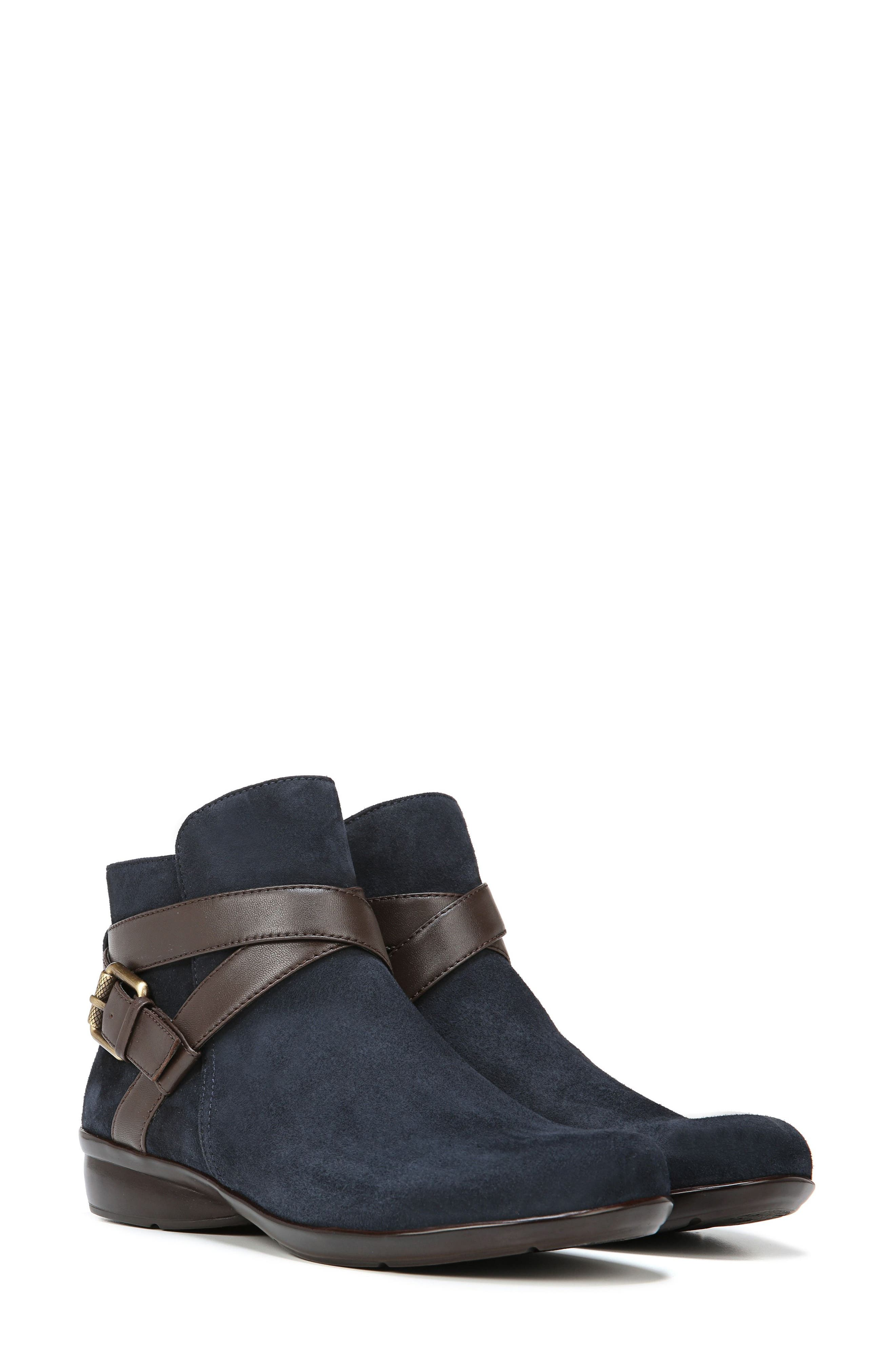 Cassandra Buckle Strap Bootie,                             Alternate thumbnail 9, color,                             NAVY/ BROWN SUEDE