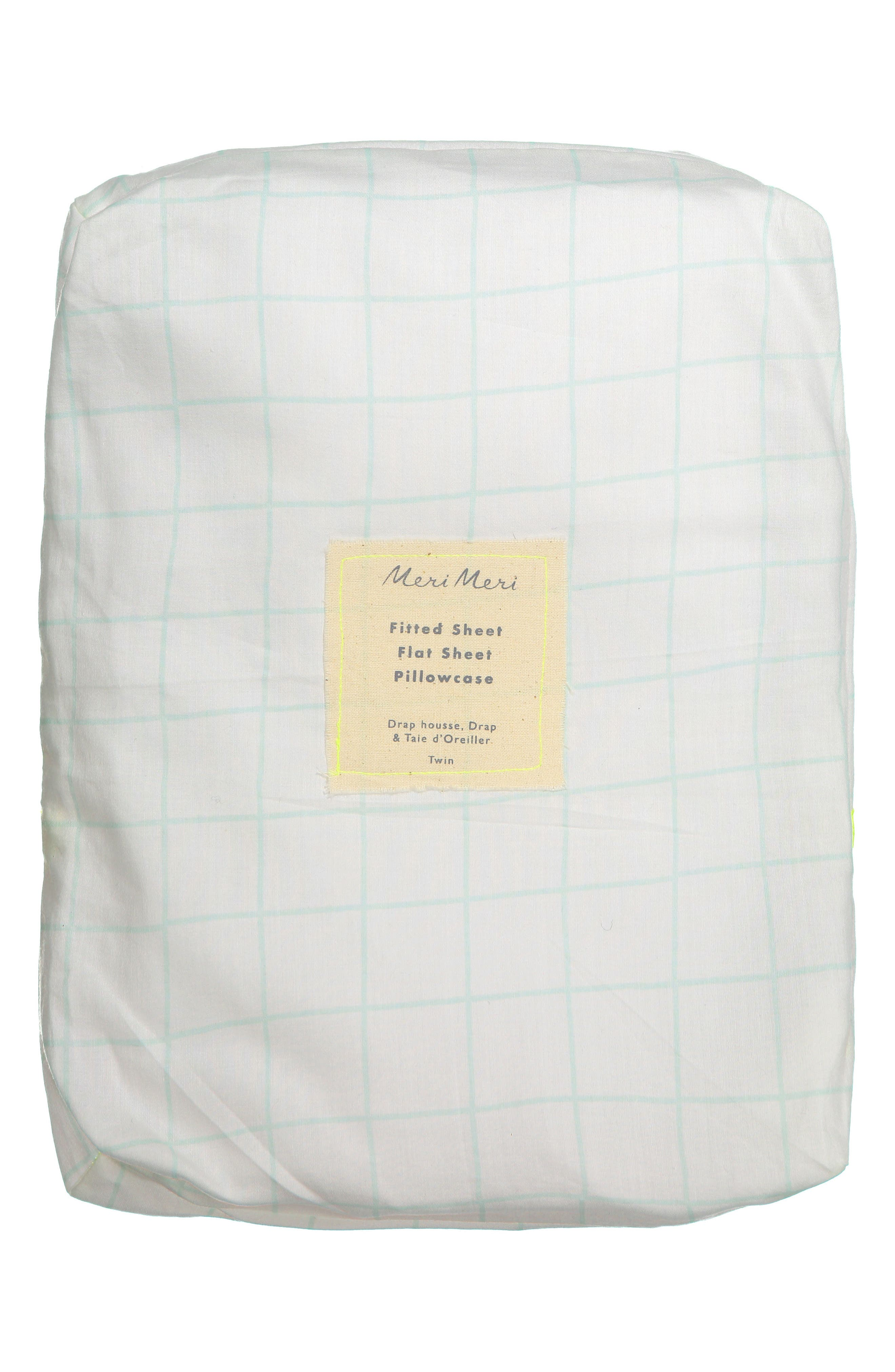 Twin Sheet & Pillowcase Set,                             Main thumbnail 1, color,                             MINT