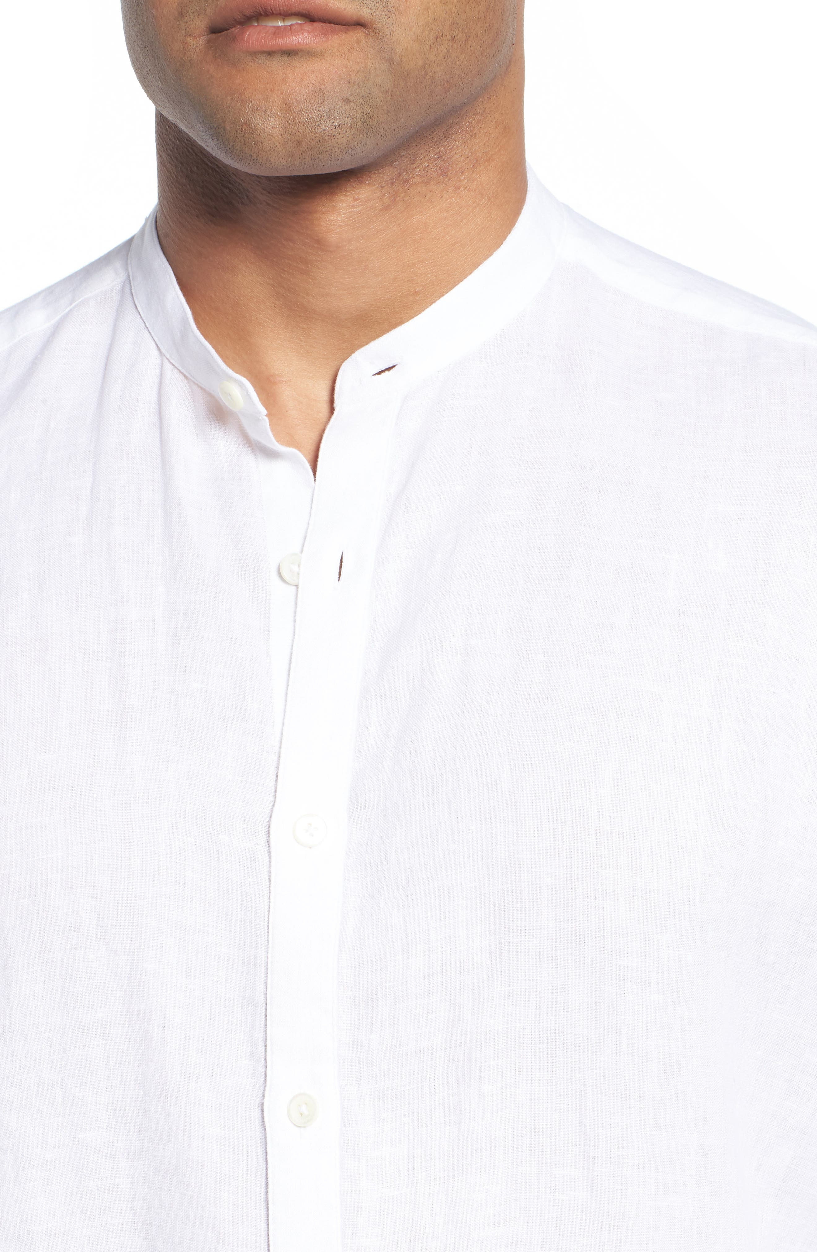 Classic Fit Band Collar Sport Shirt,                             Alternate thumbnail 4, color,                             WHITE