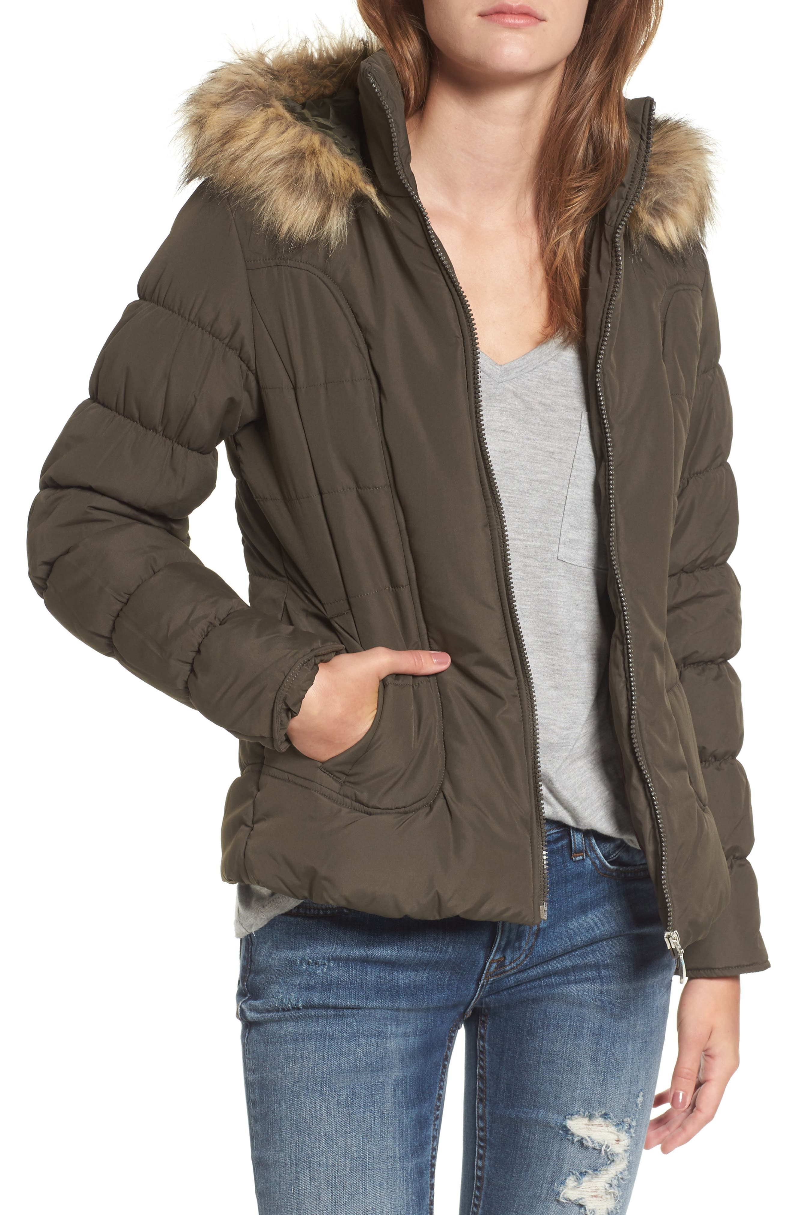 Quilted Jacket with Faux Fur Collar,                             Main thumbnail 2, color,