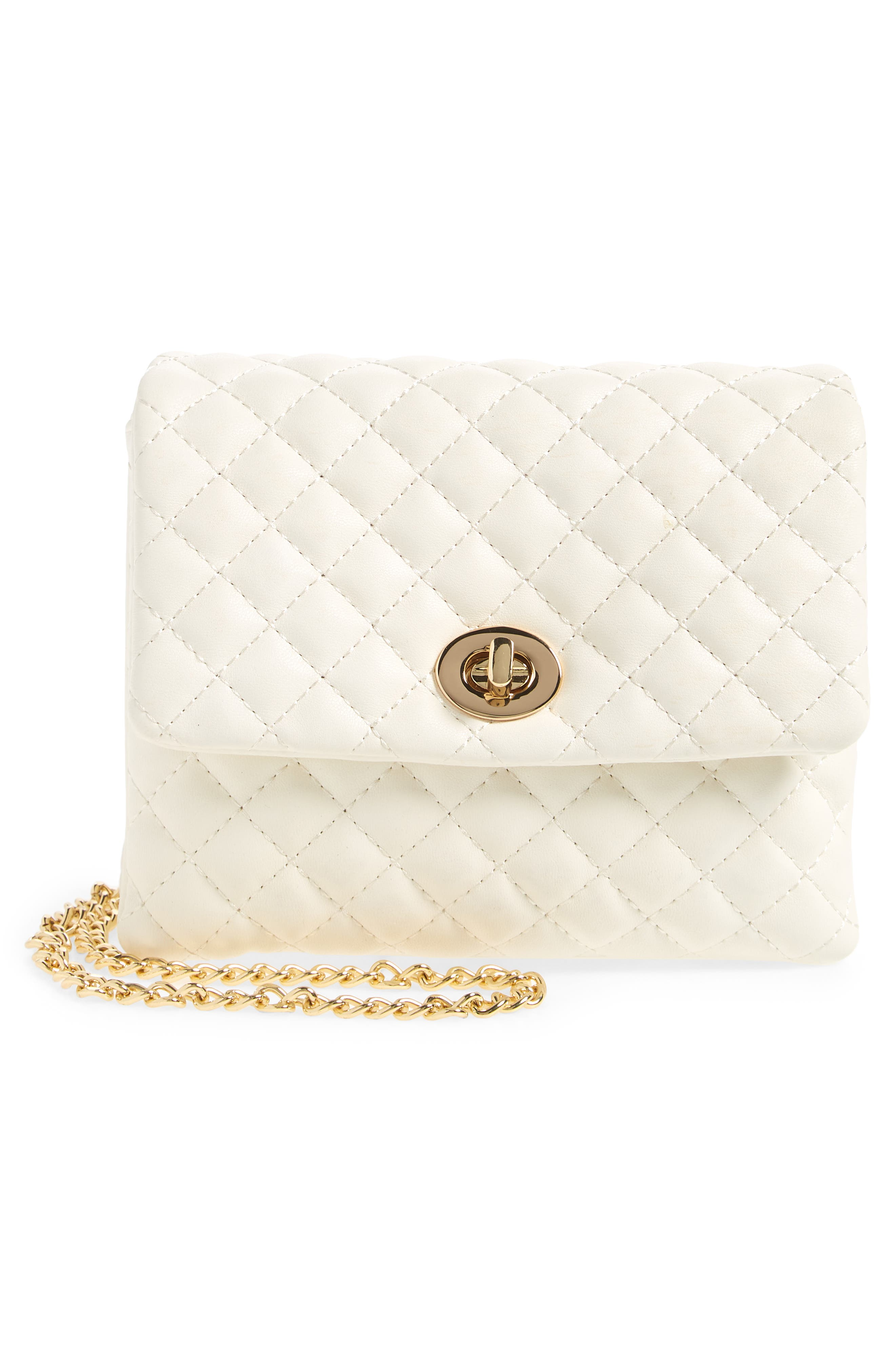 Mali + Lili Quilted Vegan Leather Convertible Belt Bag,                             Alternate thumbnail 4, color,                             WHITE