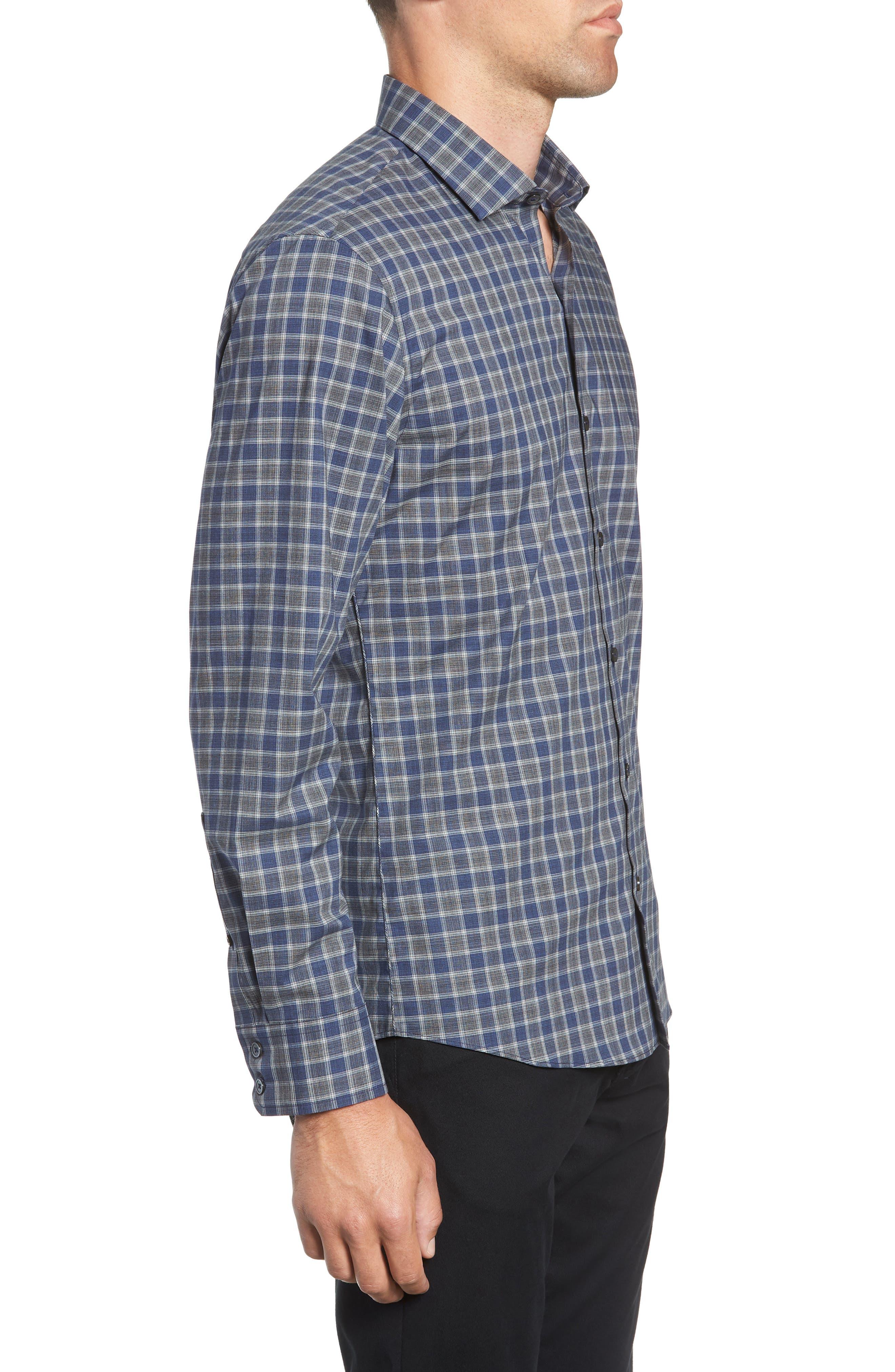 ZACHARY PRELL,                             Giunta Regular Fit Check Sport Shirt,                             Alternate thumbnail 4, color,                             BLUE