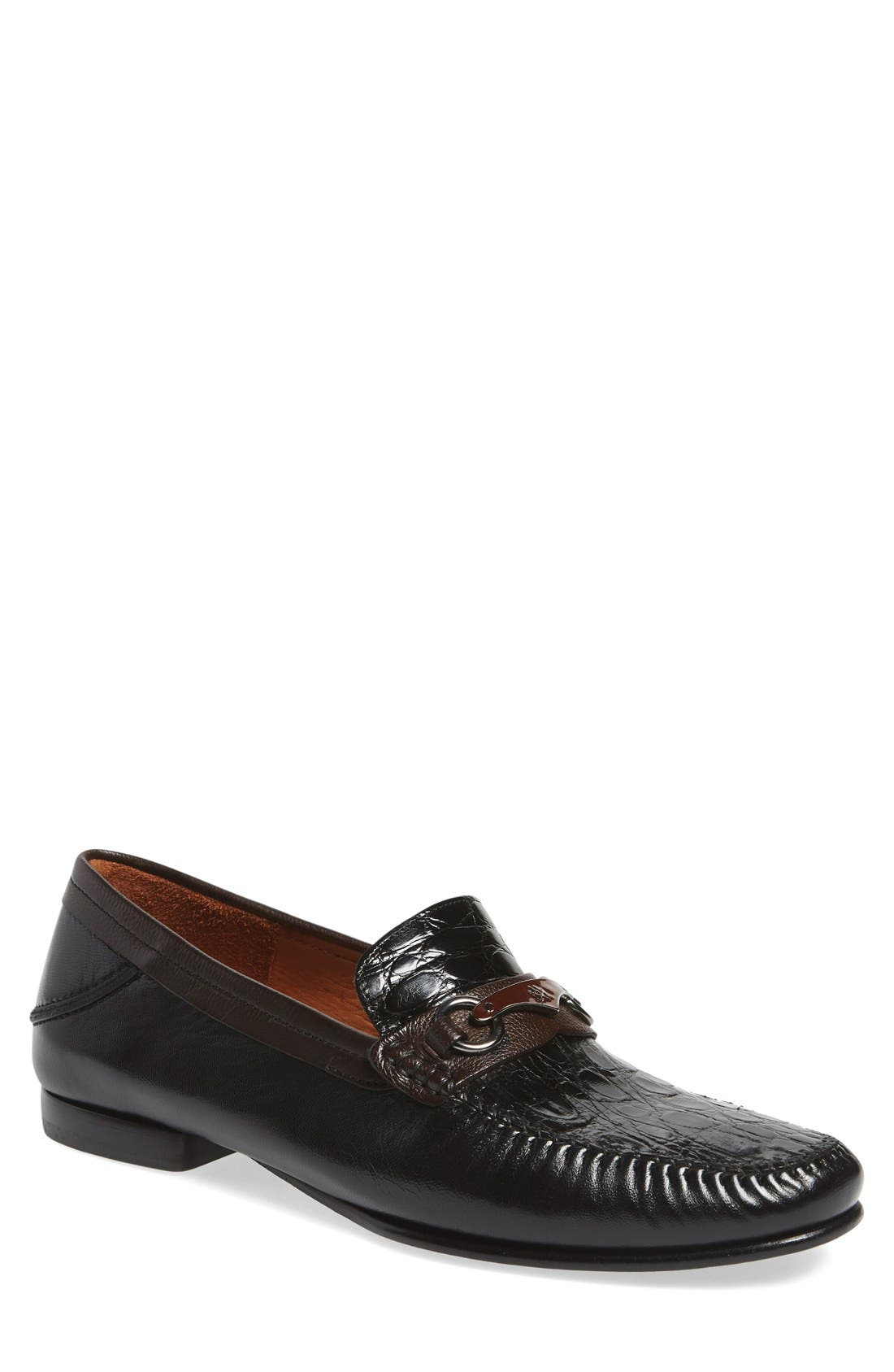 'Gaudi Venetian' Genuine Crocodile Bit Loafer,                         Main,                         color, 011