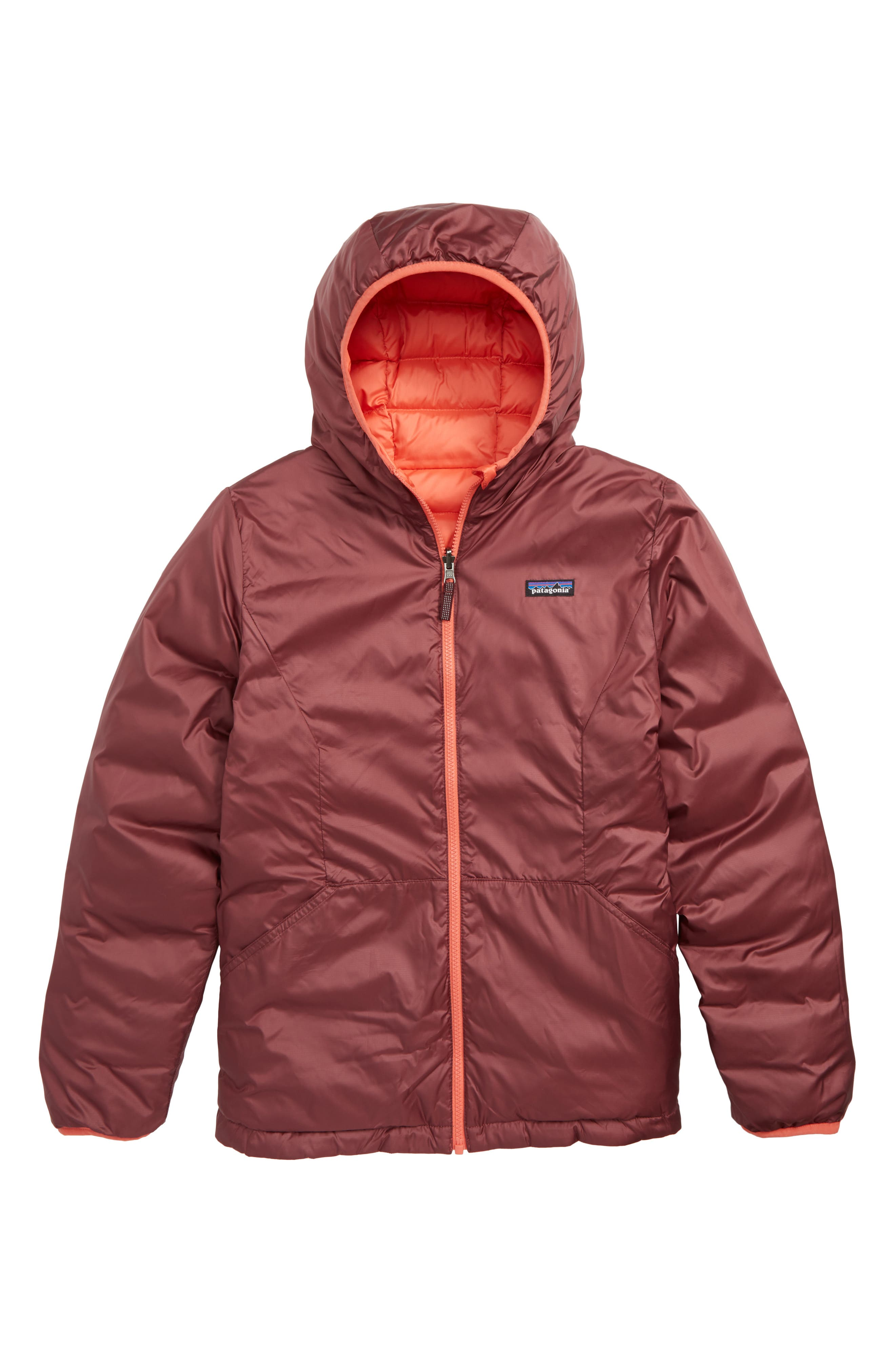Reversible Water Repellent 600 Fill Power Down Hooded Jacket,                             Alternate thumbnail 2, color,                             SPICED CORAL