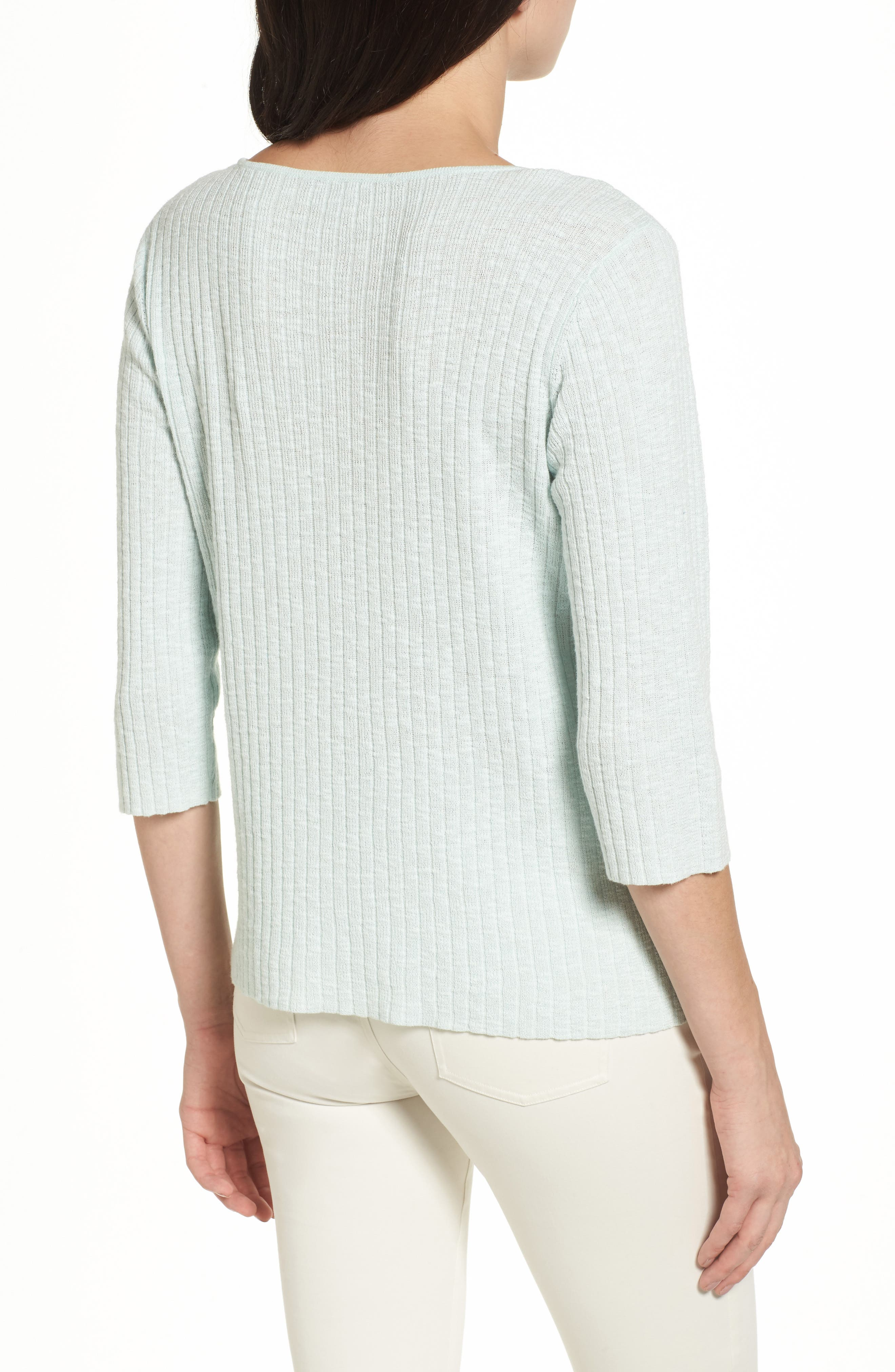 Ribbed Organic Linen & Cotton Sweater,                             Alternate thumbnail 3, color,