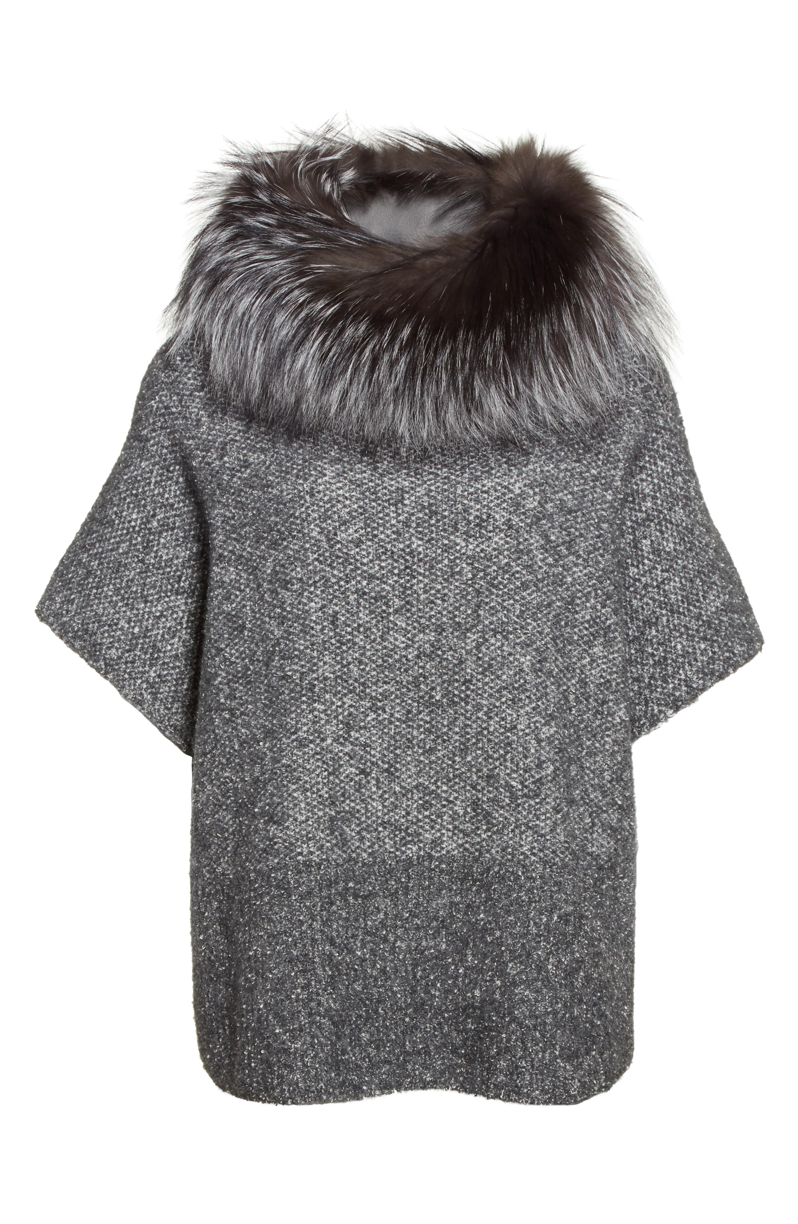 Pebble Tweed Knit Poncho with Genuine Fox Fur Collar,                             Alternate thumbnail 2, color,